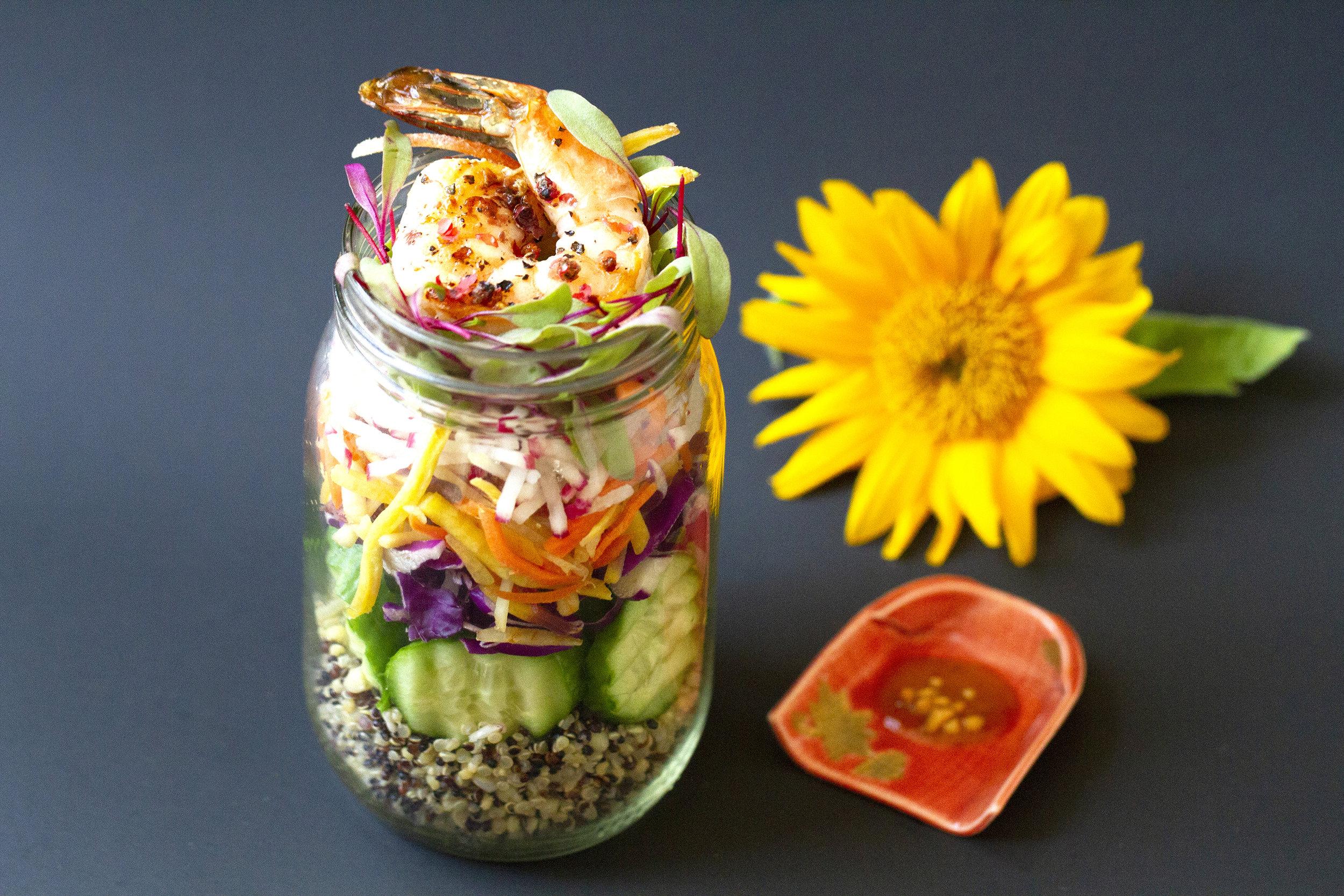 Grilled Shrimp Salad with Thai Peanut Sauce