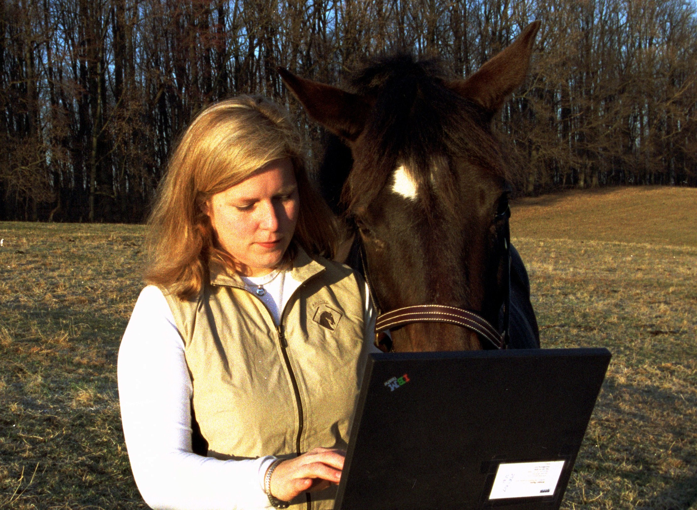 Me and Windy getting down the facts in the old days, at Callithea Farm in Potomac, Maryland.