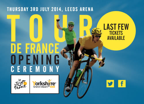 "Date: Thursday 5thJune 2014  Four Weeks to the Yorkshire Grand Départ Opening  Ceremony: Be Part of History     The Yorkshire Grand Départ of the Tour de France 2014 kicks off exactly four weeks tonight  with a spectacular Opening Ceremony and Team Presen tation at the Leeds Arena, and a chance for spectators to become a part of history.  Defending champion Chris Froome and sprint sensation Mark Cavendish will be among top cycling stars to greet the crowd on July 3, as Yorkshire welcomes 22 of the world's best cycling teams in a glittering ceremony showcasing s  ome of the county's top entertainment talent.  Yorkshire band Embrace will headline the event, which will be their first arena gig since theirrecent sell-out comeback tour and album. Their latest album went straight into the national  album chart at number 5. Originally from Brighouse,Embrace have three number 1 albums,six top ten singles and over two million UK album sales behind them. Embrace frontman Danny McNamara said: ""It's going to be amazing, to have one of the biggest annual sporting events in the world coming to our back yard and to be part of it is nothing short of massive, we're really looking forward to it!""  Girls Aloud star Kimberley Walsh will join York singer/songwriter Alistair Griffin on stage to perform the track he wrote called The Road – the official anthem of Yorkshire's Grand Départ 2014.Kimberley, known the world over for her role in the multi-platinum selling group Girls Aloud, said: ""It is going to be a night to remember and one where we make history together, giving the Tour de France a true Yorkshire welcome. Performing at this event with Alistair in our home county is going to be a special moment for me.  To celebrate the collaboration between Yorkshire and France, million selling French singer Pauline Vassuer will sing her hit ""Allo le Monde"". The orchestra and chorus of Opera North will perform music specially created for the event  live throughout the ceremony, conducted by composer Philip Sheppard, who composed music for London 2012.  The band Hope & Social with Grassington Festival from Yorkshire Festival 2014, will bring the Tour of infinite Possibility, featuring 100 performers in the Band Anyone Can Join who will sing their Festival Song 'The Big Wide'.  Executive producer Martin Green, who was Head of Ce remonies at the London 2012 Olympics, said: ""We're breaking new ground here for the Tour de France with this ambitious show - it's something much bigger and completely new to the cycling world. With the theme of the event The People of Yorkshire Welcome the World, this will give the riders the entrance they deserve as the Yorkshire Grand Départ celebrations begin.""  Gary Verity, Chief Executive of Welcome to Yorkshire, said: ""We know how enthusiastic millions of people are to make sure they get a chance to be part of the Tour de France coming to Yorkshire and their first opportunity will be at the Opening Ceremony and Team Presentation on Thursday July 3. Thousands of people will be able to see up close and hear from these cycling stars, witnessing a moment in history and making the Tour's arrival and unforgettable experience.""  The show will be broadcast around the world, with a special programme in the UK on ITV 4.Hosts, ITV sports presenter Jill Douglas and the voice of the Tour de France Sebastien Piquet, will interview riders from the teams and Team Sky will parade their top secret Pinarello's Dogma F8 bikes which have been a year in the making and are reportedly the best bikes the team have ever ridden.  Tickets for the not-for-profit event start at £45 upwards (all the highest priced £85 tickets sold out in minutes) and are available at  www.letouryorkshire.com/tickets"