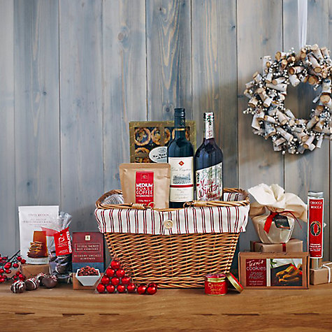 John Lewis - Winter Warmer Hamper    WAS £75.00 NOW£37.50   For anyone who finds the opportunity to snuggle up by the warm and cosy fireside to be the best thing about winter, this homely but luxurious festive hamper is the ideal gift. Contents:  Cabernet Sauvignon Don Cayetano Colchagua Valley Chile 2014, 75cl  Belvoir Fruit Farms Mulled Winter Punch, 75cl  Lily Flame Christmas Spice Scented Candle  The Real Smoked Nut Company Hickory Smoked Almonds, 100g  Grate Britain All British Smoked Cheese Crackers, 45g  Teoni's Spiced Fingers, 150g  Cottage Delight Mini Mince Pies with Almond Topping x 9  Maxwell & Franks Delicious Christmas Pudding with Cider, 454g  Chocca Mocca 100% Real Belgian Milk Drinking Chocolate, 150g  Linden Lady Handmade Chocolate Covered Marshmallows, 150g  Lessiters Mulled Wine Chocolate Truffles, 95g  Edinburgh Tea & Coffee Medium Roast Coffee, 113g  http://www.johnlewis.com/john-lewis-winter-warmer-hamper/p1479077