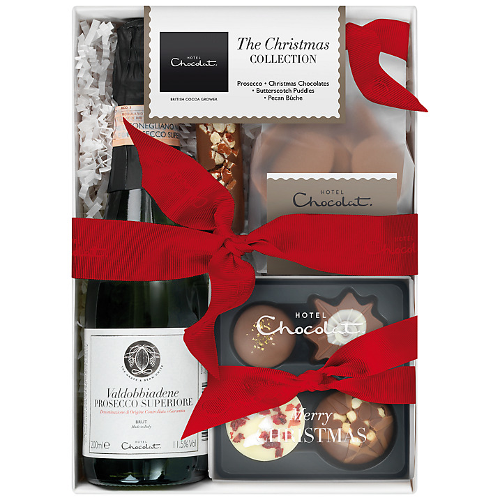 JOHN LEWIS-Hotel Chocolat Christmas Collection with Sparkling Pink Rosé, 190g    £25.00    The Christmas Collection makes the ideal gift for any chocolate lover this year - especially one who enjoys a glass of bubbly! Untie the festive red ribbon to reveal a bottle of Sparkling Pink Rosé, Butterscotch Puddles, the Christmas Mini Collection and an indulgent Pecan Bûche.   http://www.johnlewis.com/hotel-chocolat-christmas-collection-with-sparkling-pink-rose-190g/p1691761