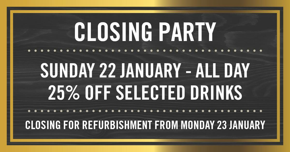 A promotional poster advertising the Closing Party