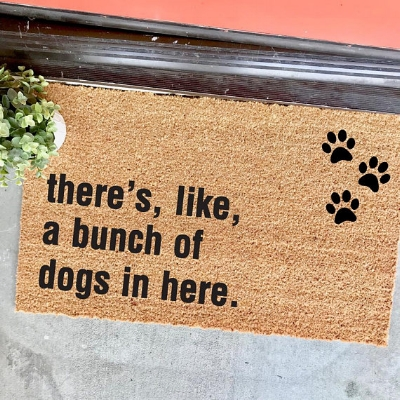 The ORIGINAL bunch of dogs in here with paw prints doormat  by TheCheekyDoormat