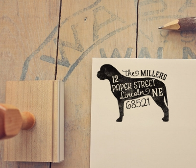 Mastiff Return Address Stamp  (other breeds available) by PaperPeachShop