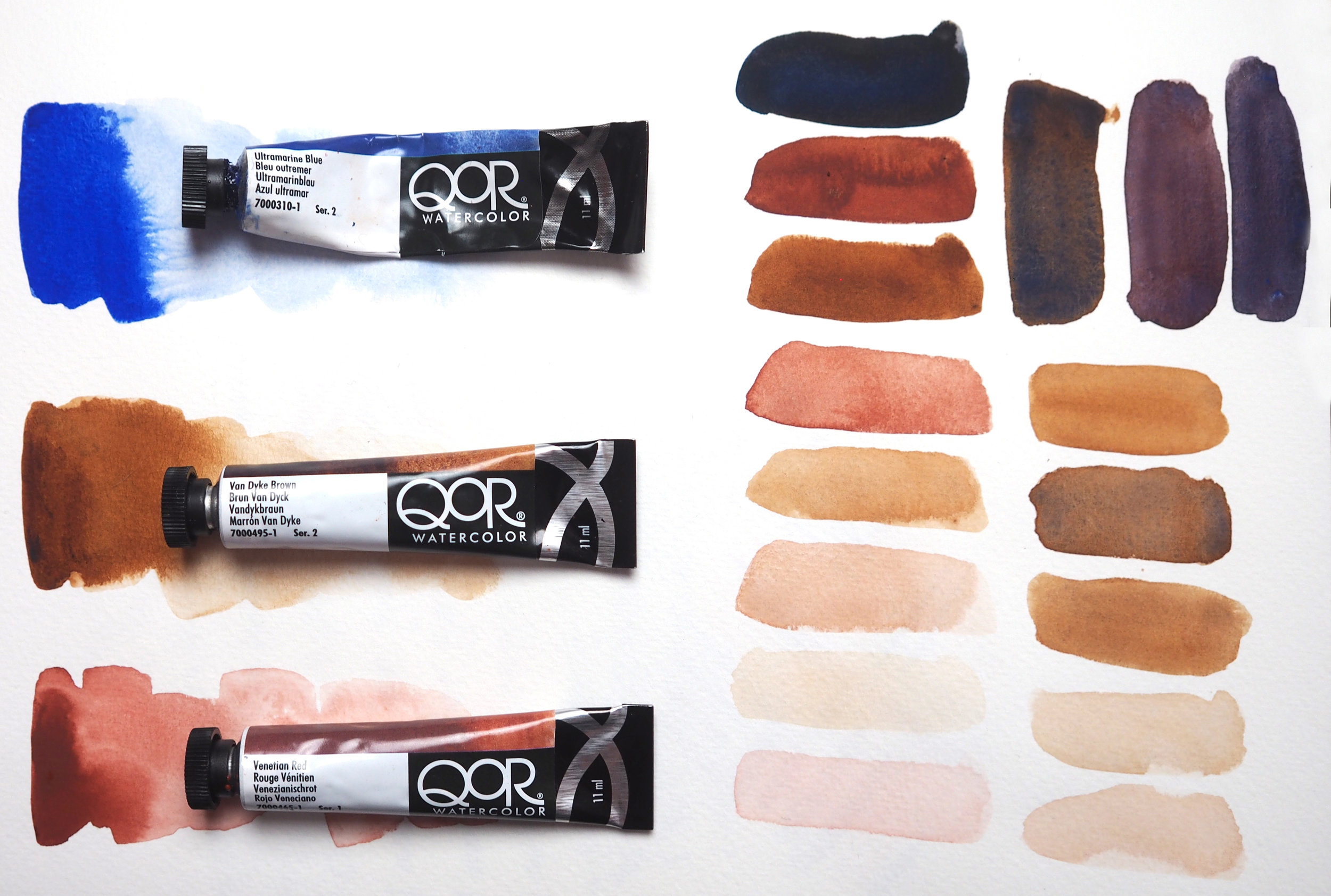 a range of skin tones created from varying my mixtures and water amounts.