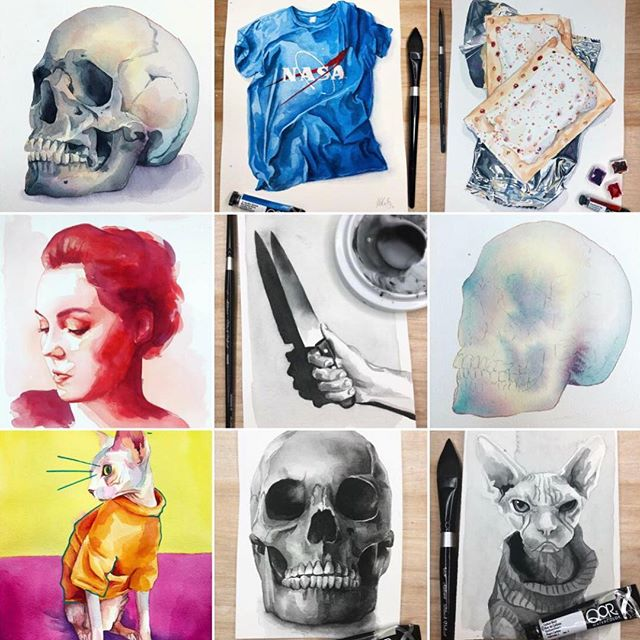 I guess the year is about over so here's my top 9 of 2018. In the past few months have resulted in some good arting 👩🏻🎨 #painting #art #watercolor #topnine