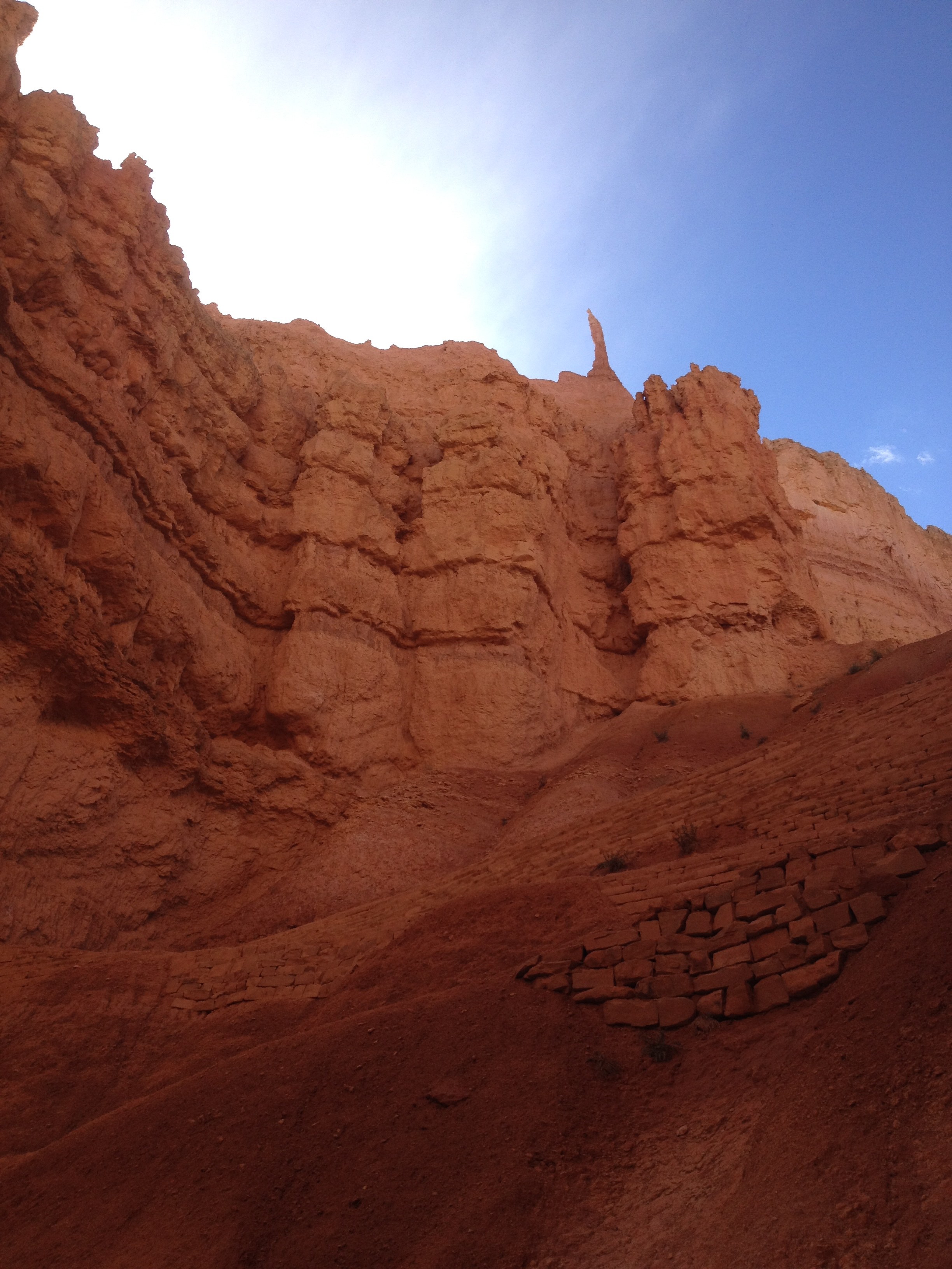 A trail built into a cliff in Bryce Canyon
