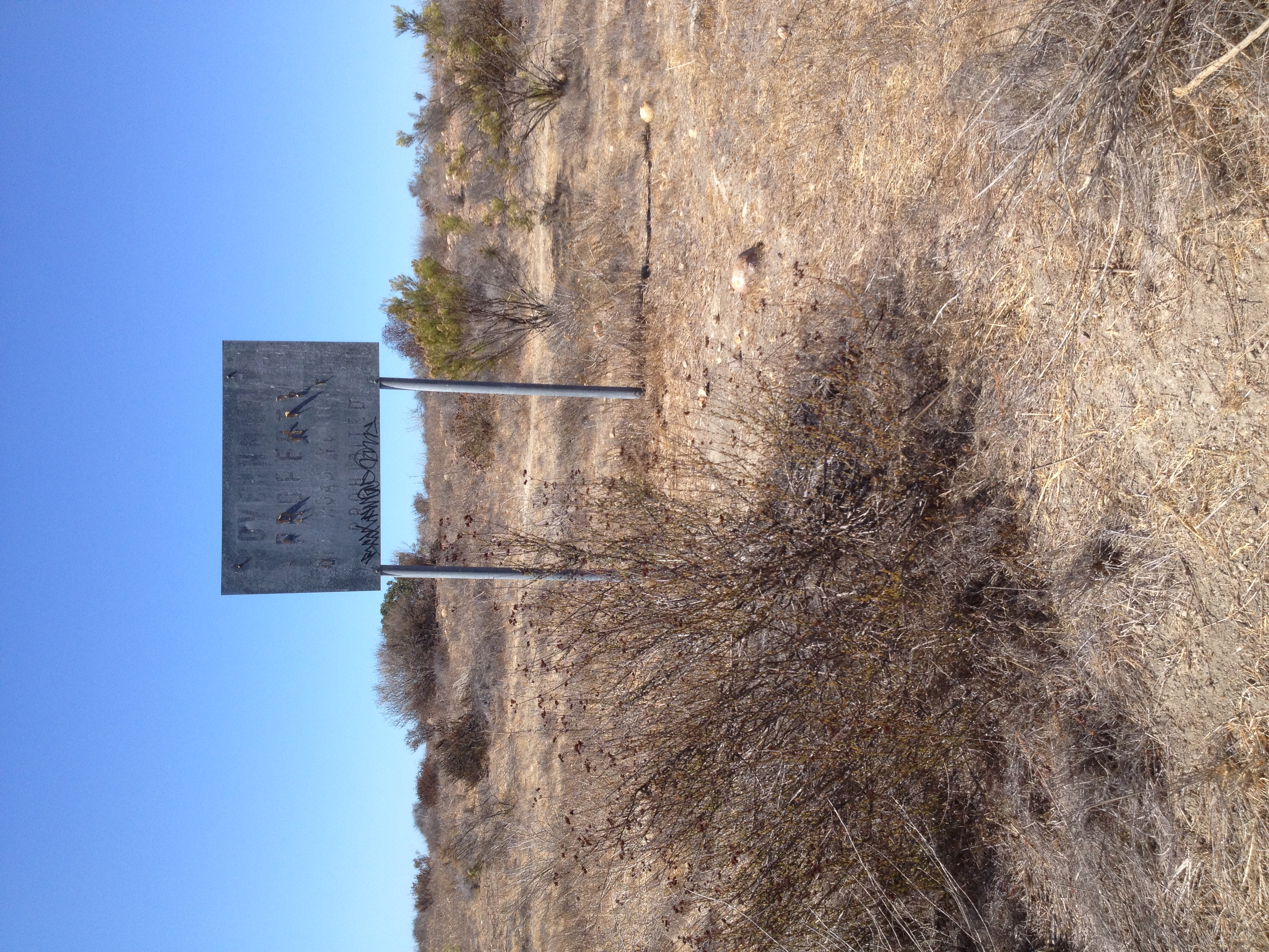 """Government Property"" sign viewed in Mission Trails Regional Park, San Diego."