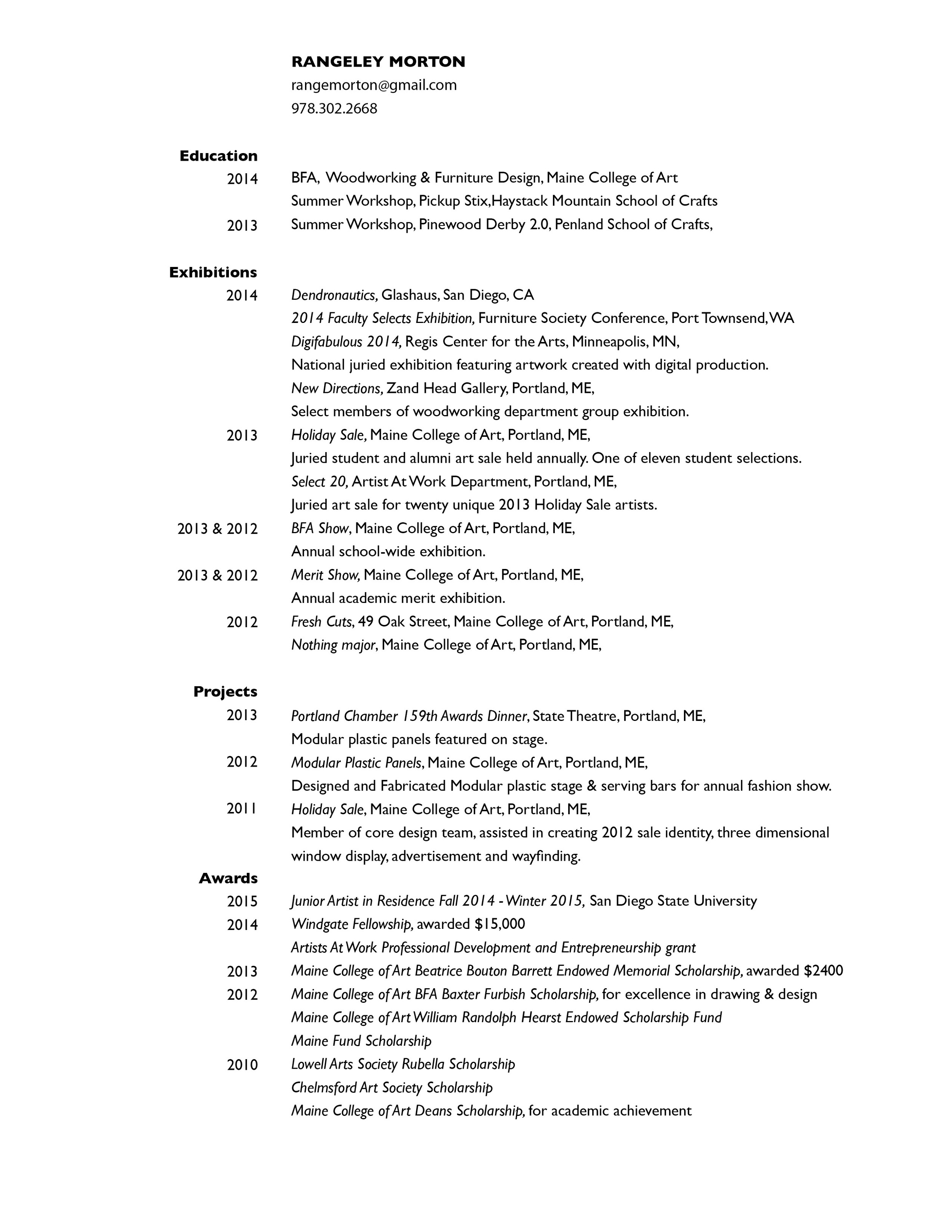 resume page one