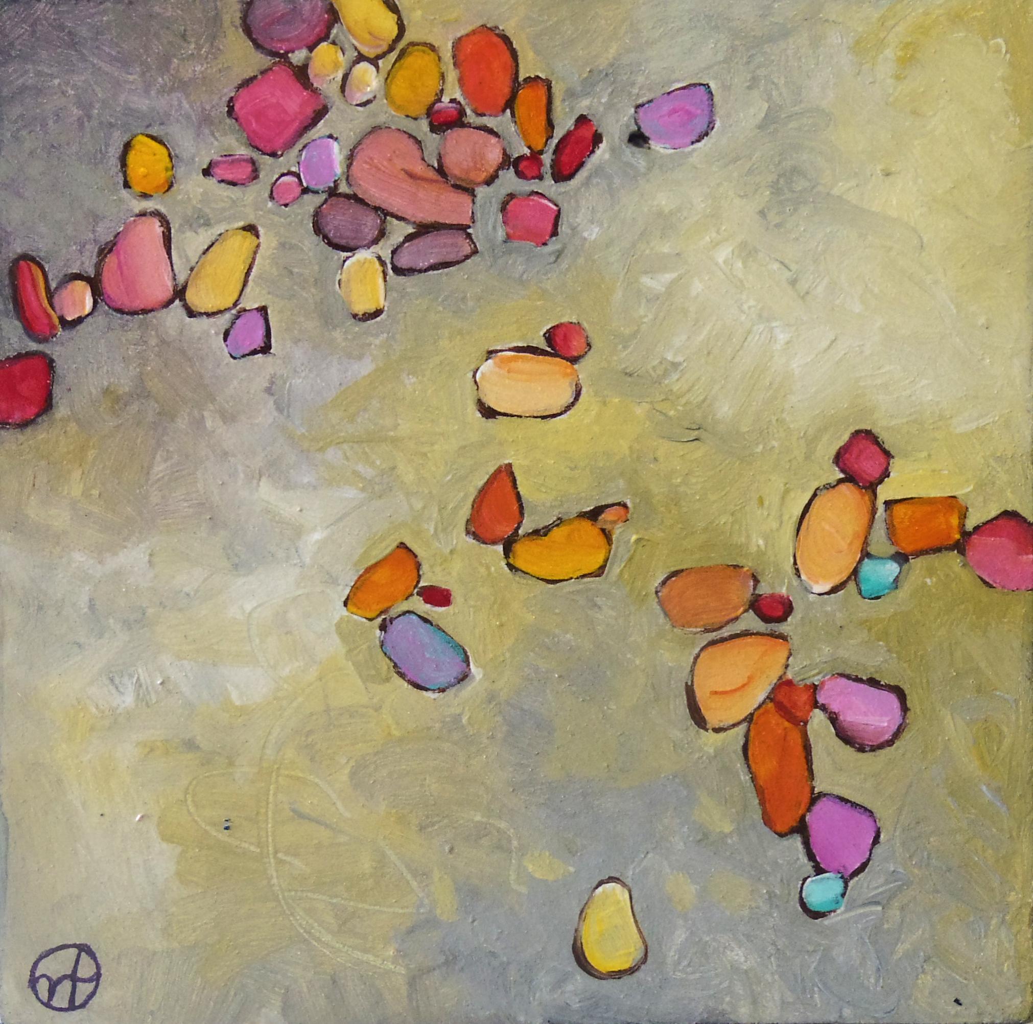 Untitled pebble paintings,