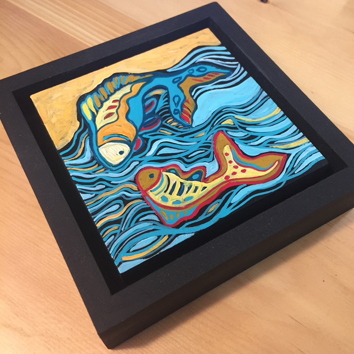 """acrylic on wood, 6.75"""" x 6.75"""" (including frame),  frame is 1.5 inches deep and made locally in the metro area"""