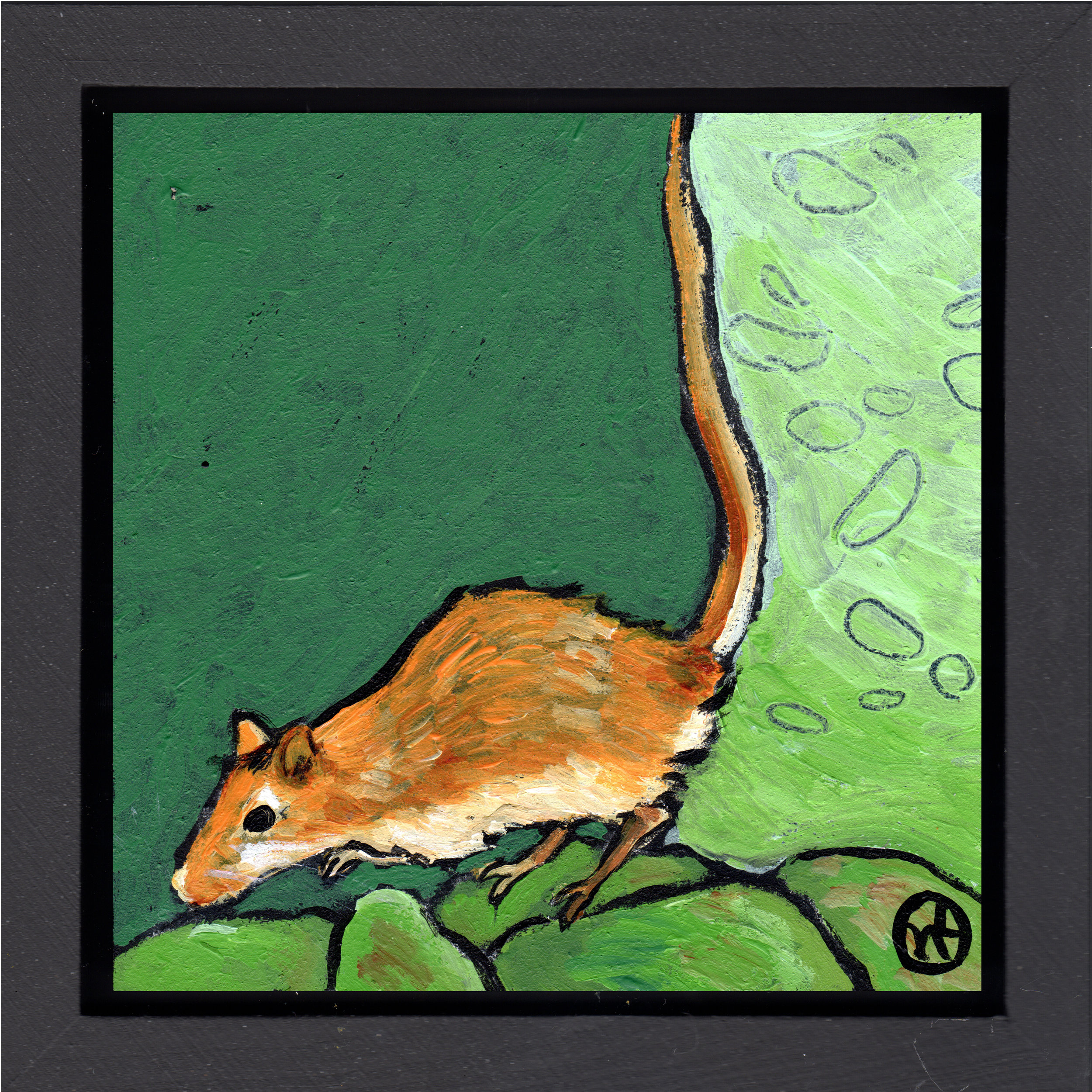 """acrylic on wood, 6.5"""" x 6.5"""" (including frame),  wood frame is 1.5 inches deep and made locally  sold"""