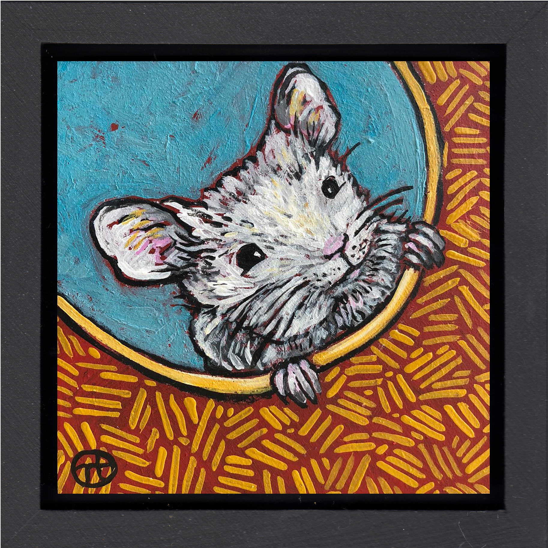 """acrylic on wood, 6.5"""" x 6.5"""" (including frame),  wood frame is 1.5 inches deep and made locally"""