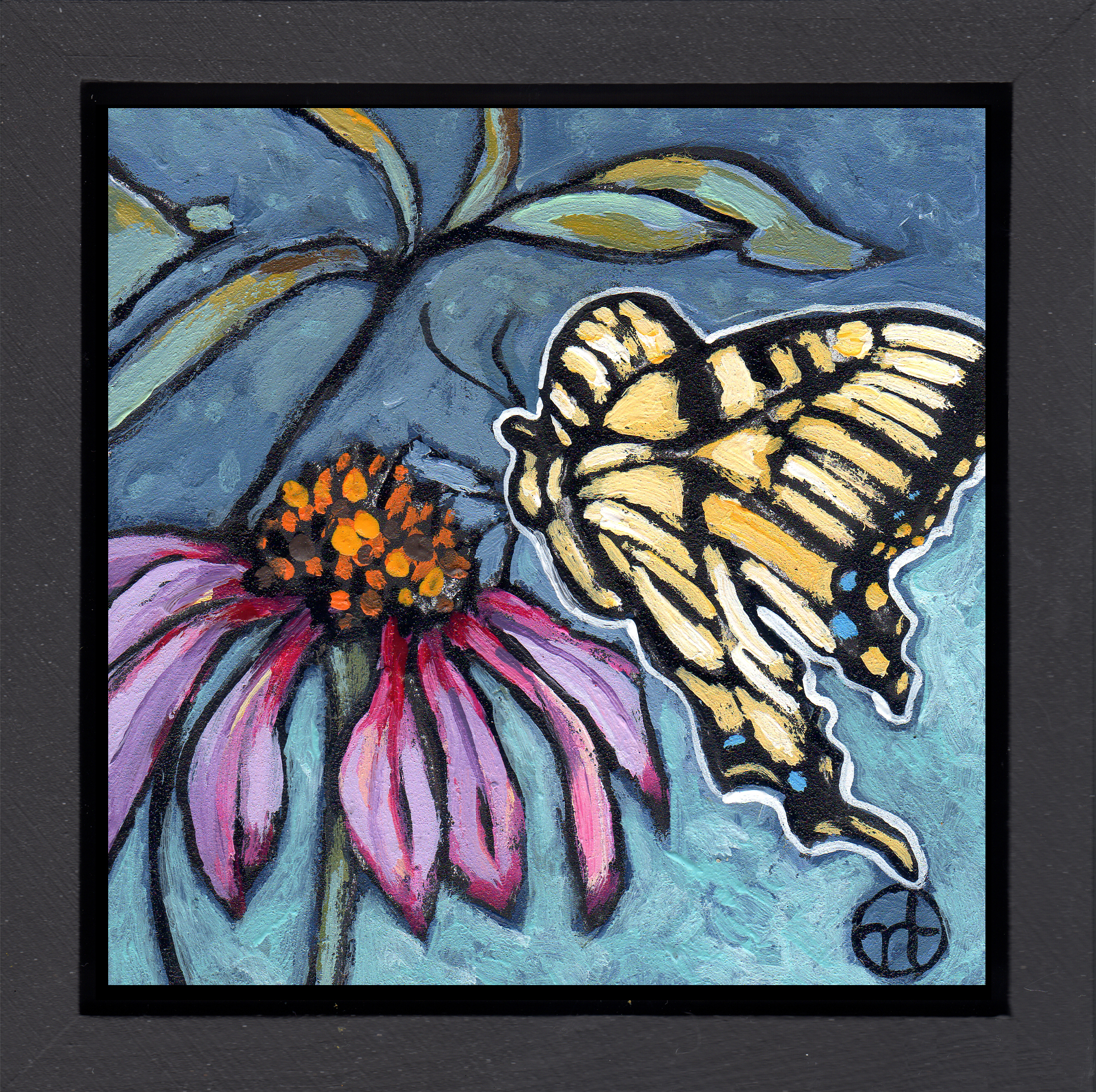 Sold.  It's day 9 of the butterfly challenge and I'm posting two paintings inspired by photos sent to me by a fantastic stained glass artist.  acrylic on wood  6.5 x 6.5 inches, 1.5 inch deep wood frame