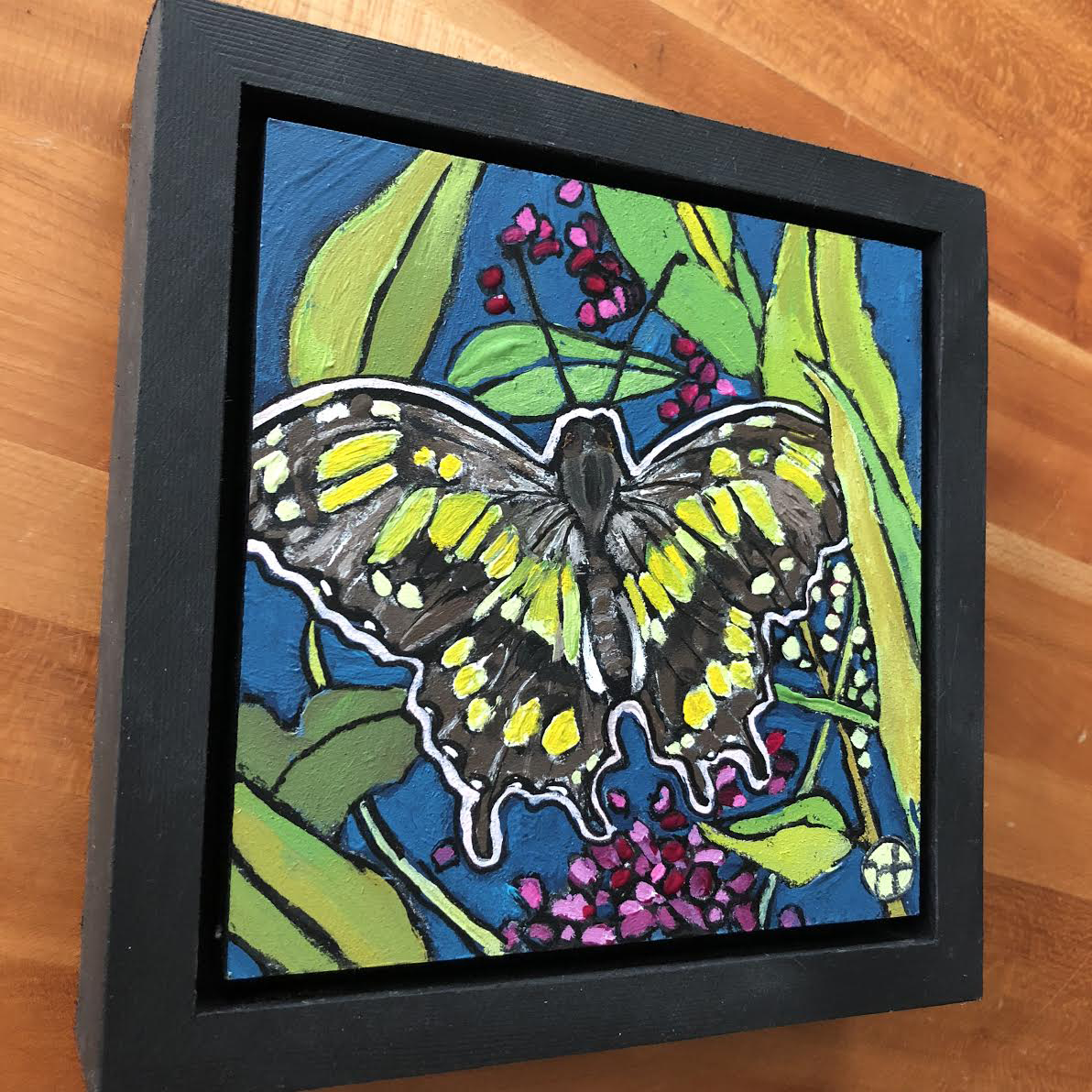 Sold.  Day 11: Malachite butterfly based on a photo sent to me by a wonderful teacher and friend.  acrylic on wood  6.5 x 6.5 inches, 1.5 inch deep wood frame
