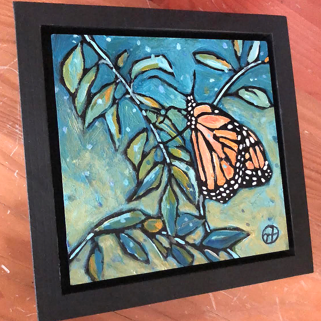 Sold.  Day 12: Everyone's perennial favorite! A Monarch!  acrylic on wood  6.5 x 6.5 inches, 1.5 inch deep wood frame