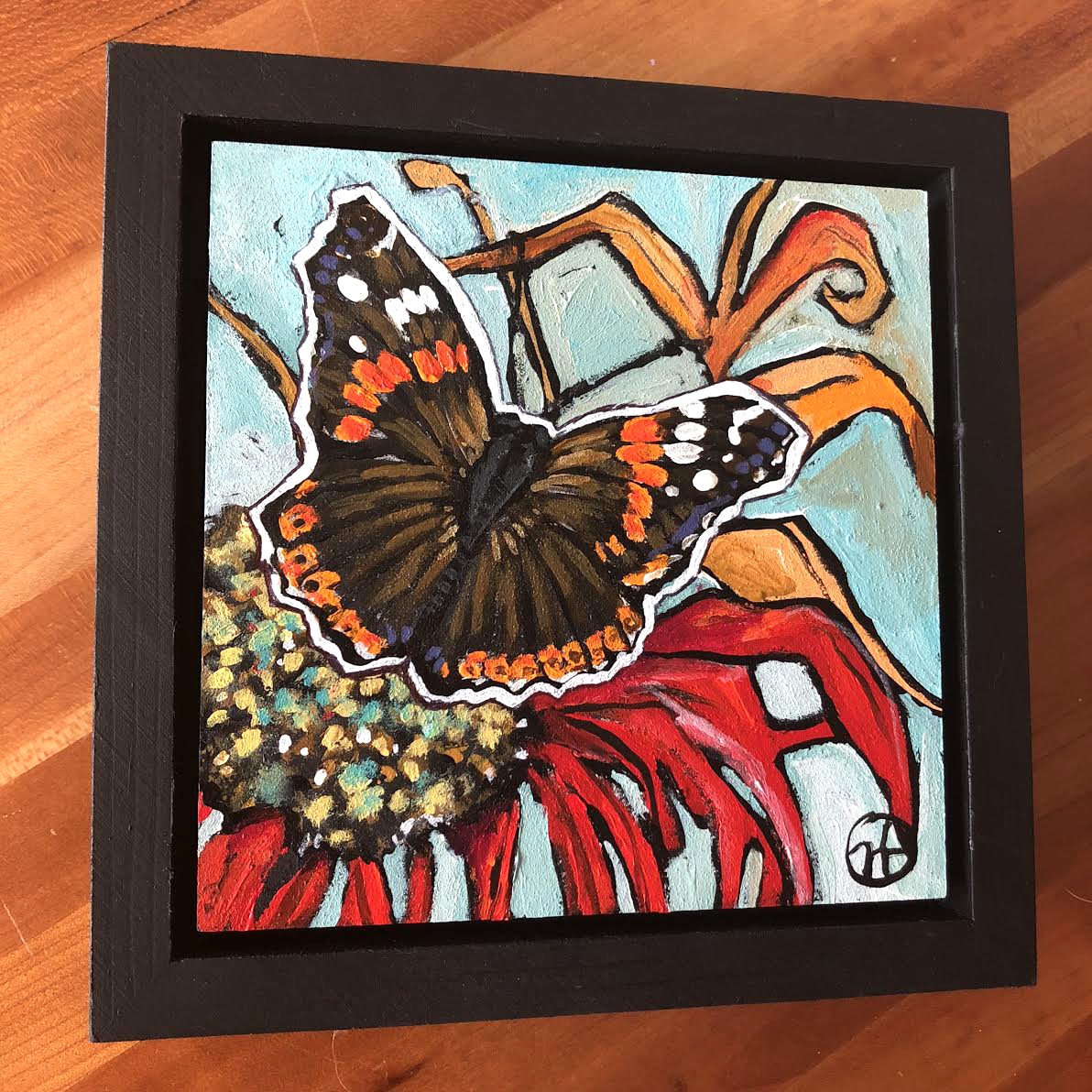 Sold.   Day 13: A Red Admiral based on one of my photos.  acrylic on wood  6.5 x 6.5 inches, 1.5 inch deep wood frame