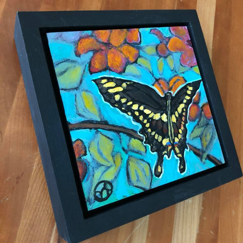 Sold.  Day 16: this one shows a giant swallowtail visiting some impatiens in southern MN. Photo inspiration sent to me by @wendess on Instagram.   acrylic on wood  6.5 x 6.5 inches, 1.5 inch deep wood frame