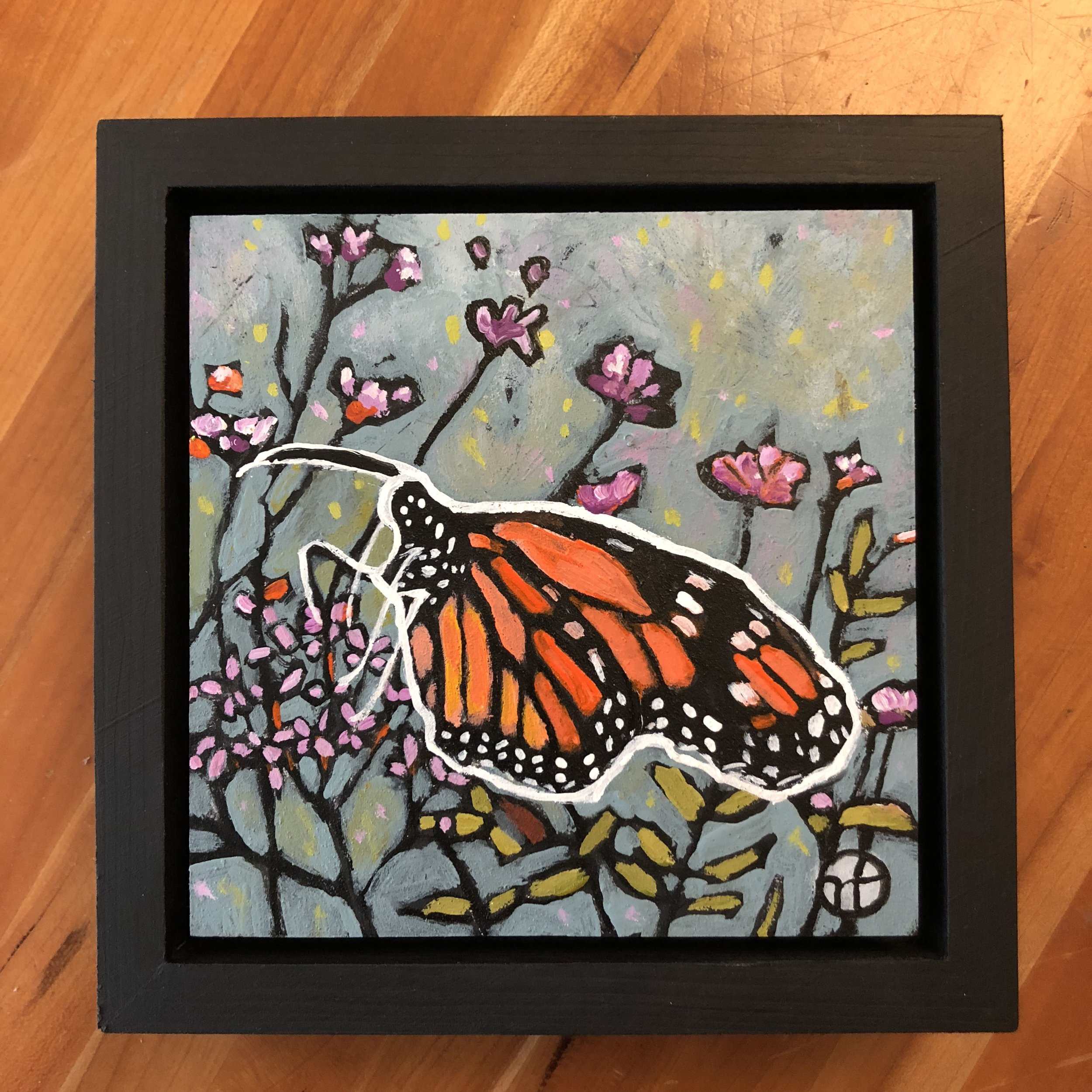 Day 17:  Available for $55  acrylic on wood  6.5 x 6.5 inches, 1.5 inch deep wood frame
