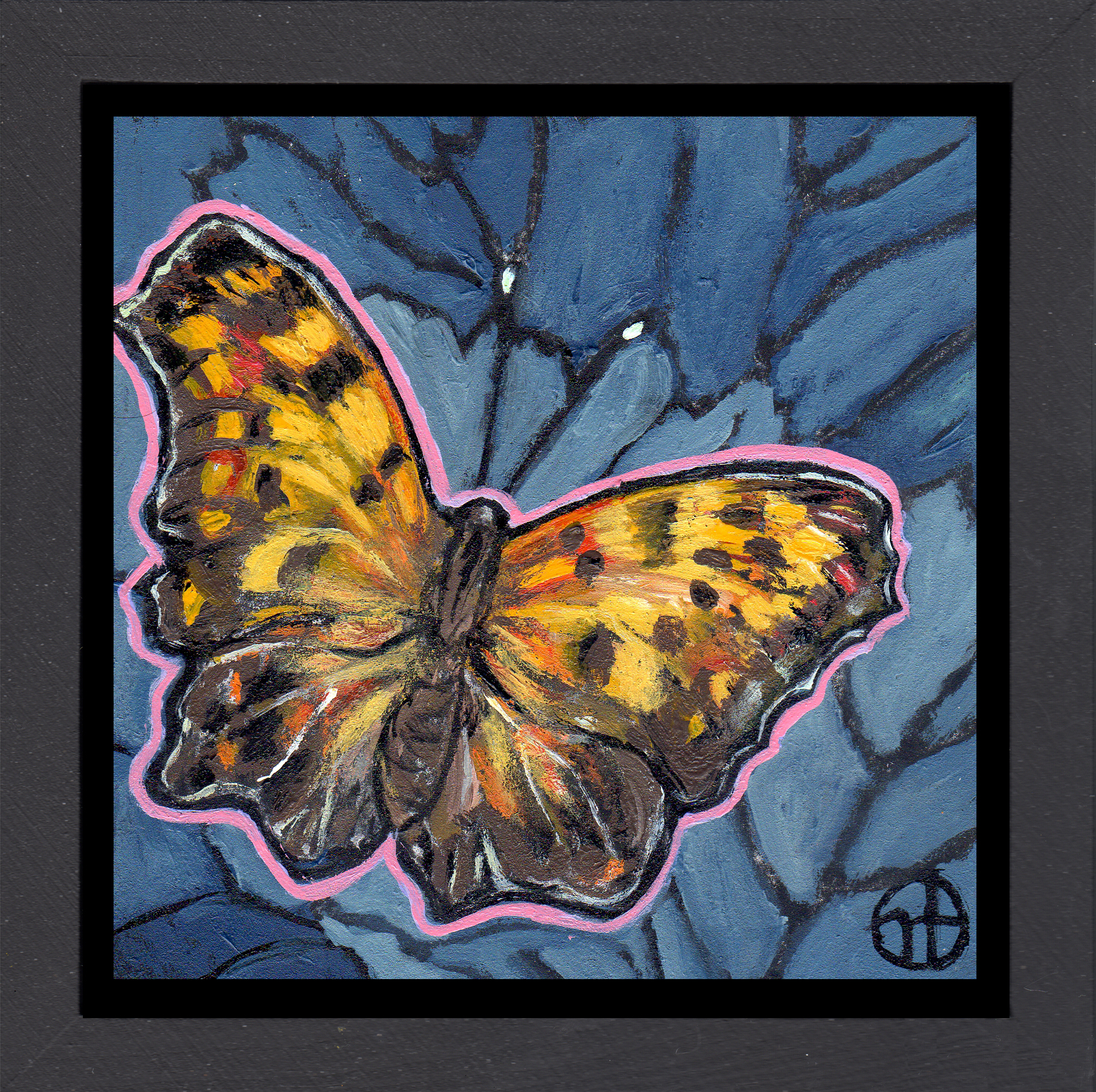 Sold.  Day 23: A question mark butterfly  acrylic on wood  6.5 x 6.5 inches, 1.5 inch deep wood frame