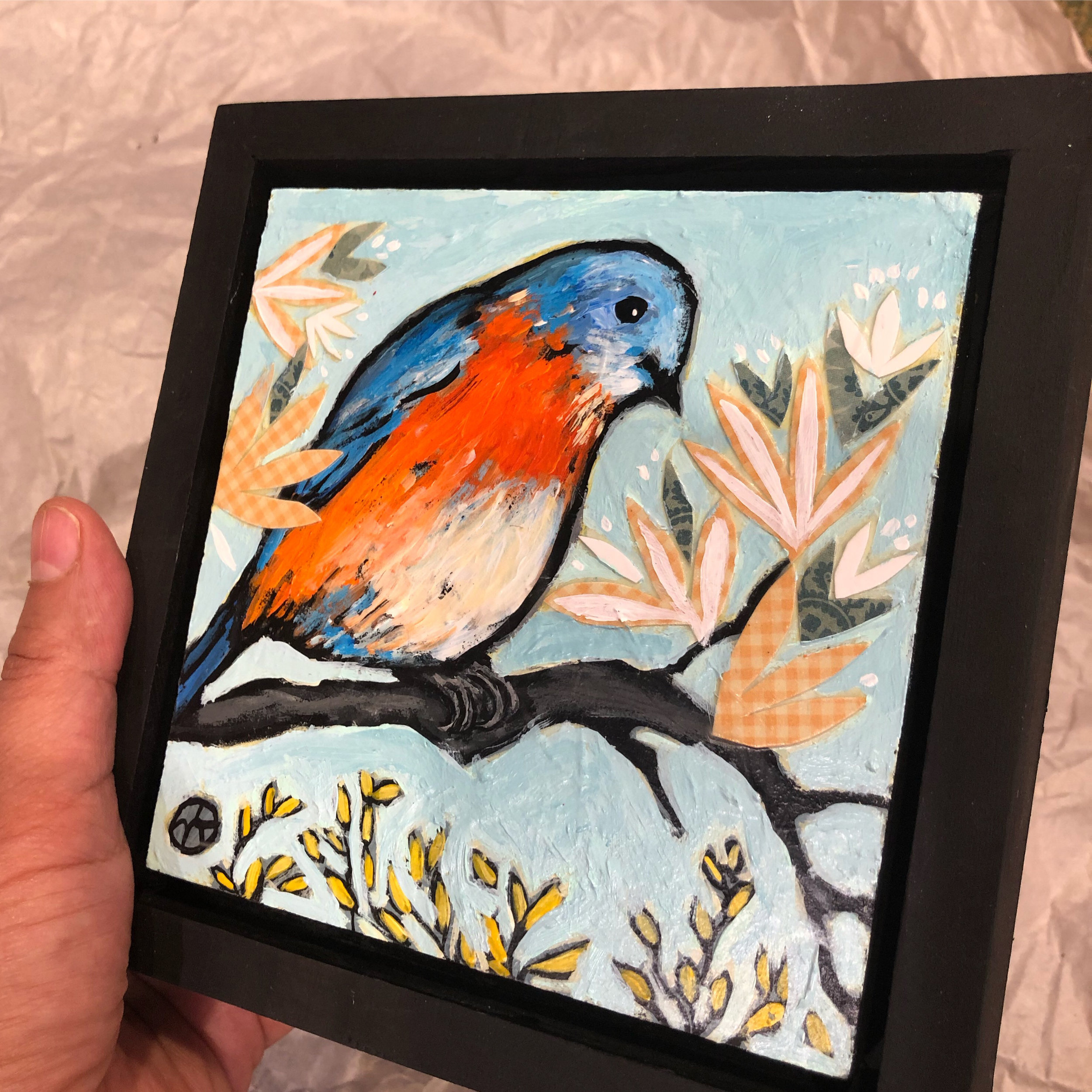 """paper and acrylic on wood, 6.5"""" x 6.5"""" (including frame),  wood frame is 1.5 inches deep and made locally"""