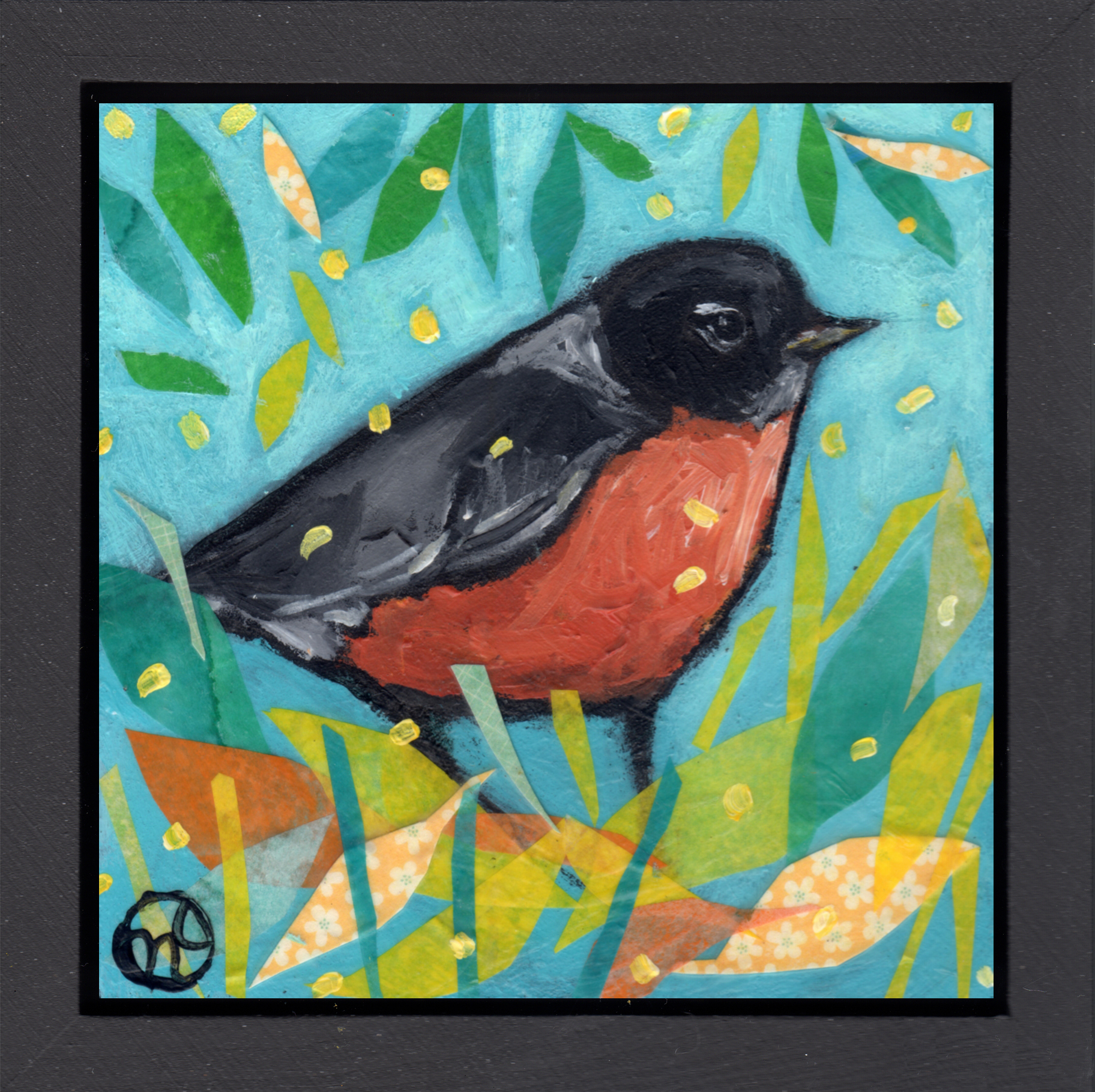 """acrylic and paper on wood, 6.5"""" x 6.5"""" (including frame),  wood frame is 1.5 inches deep and made locally"""
