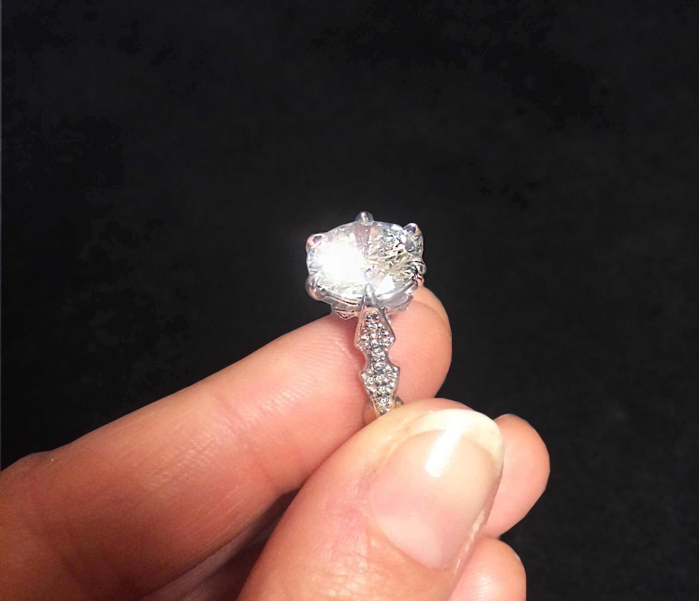 5 carats GIA certificate diamond set in platinum with white diamonds from private collection, one of a kind