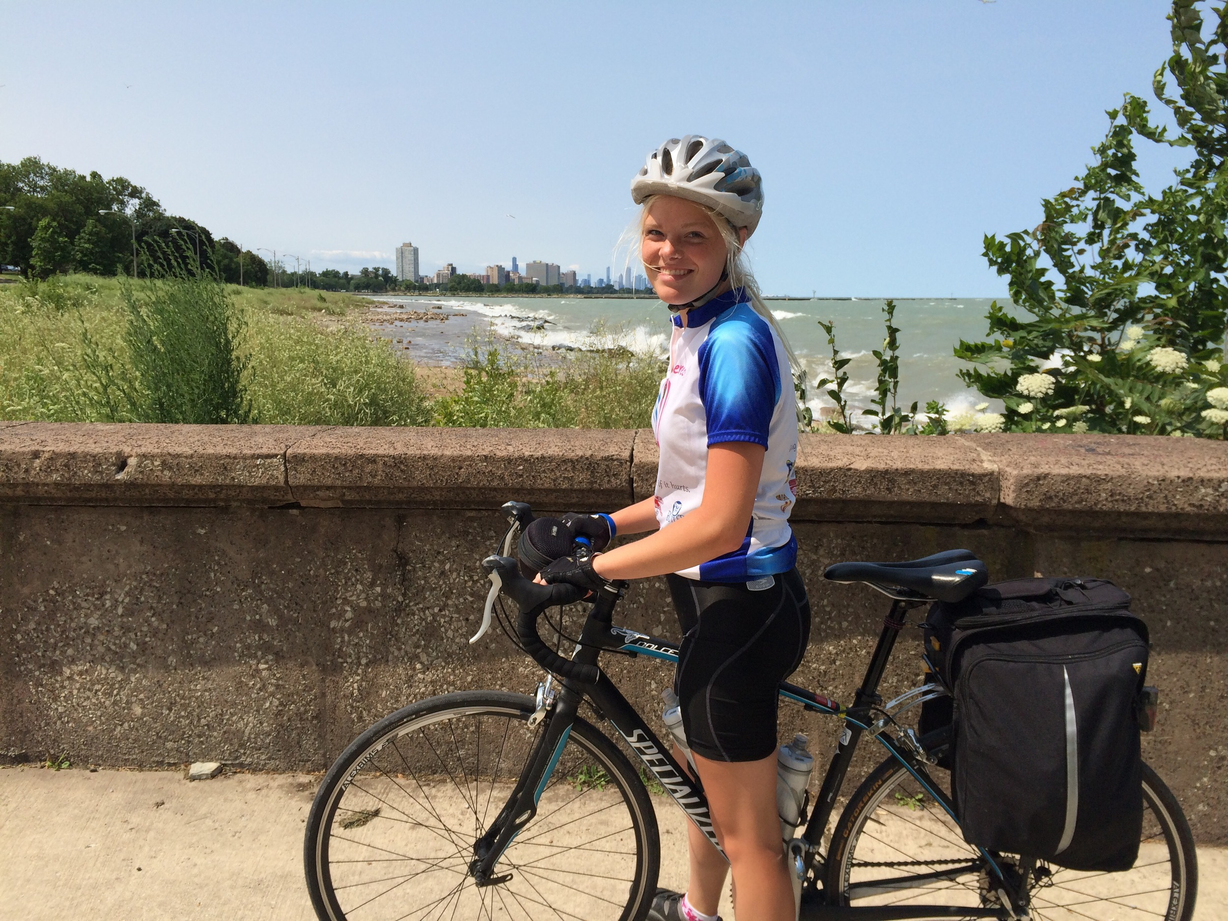 The Chicago skyline in the background as we followed the Lake Shore Trail