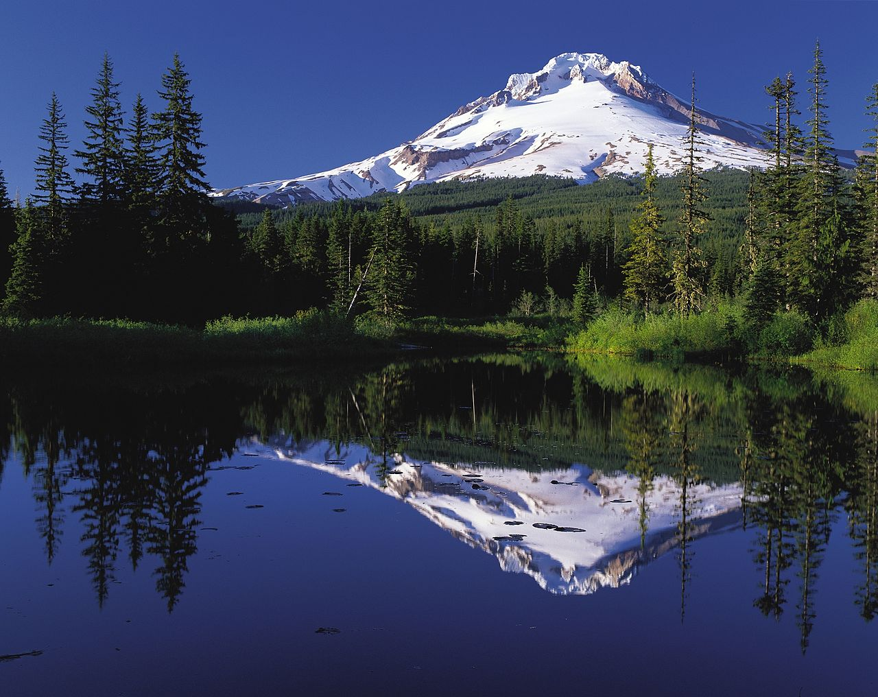 Mount Hood & Mirror Lake, Oregon (Reflection) - Photo Public Domain