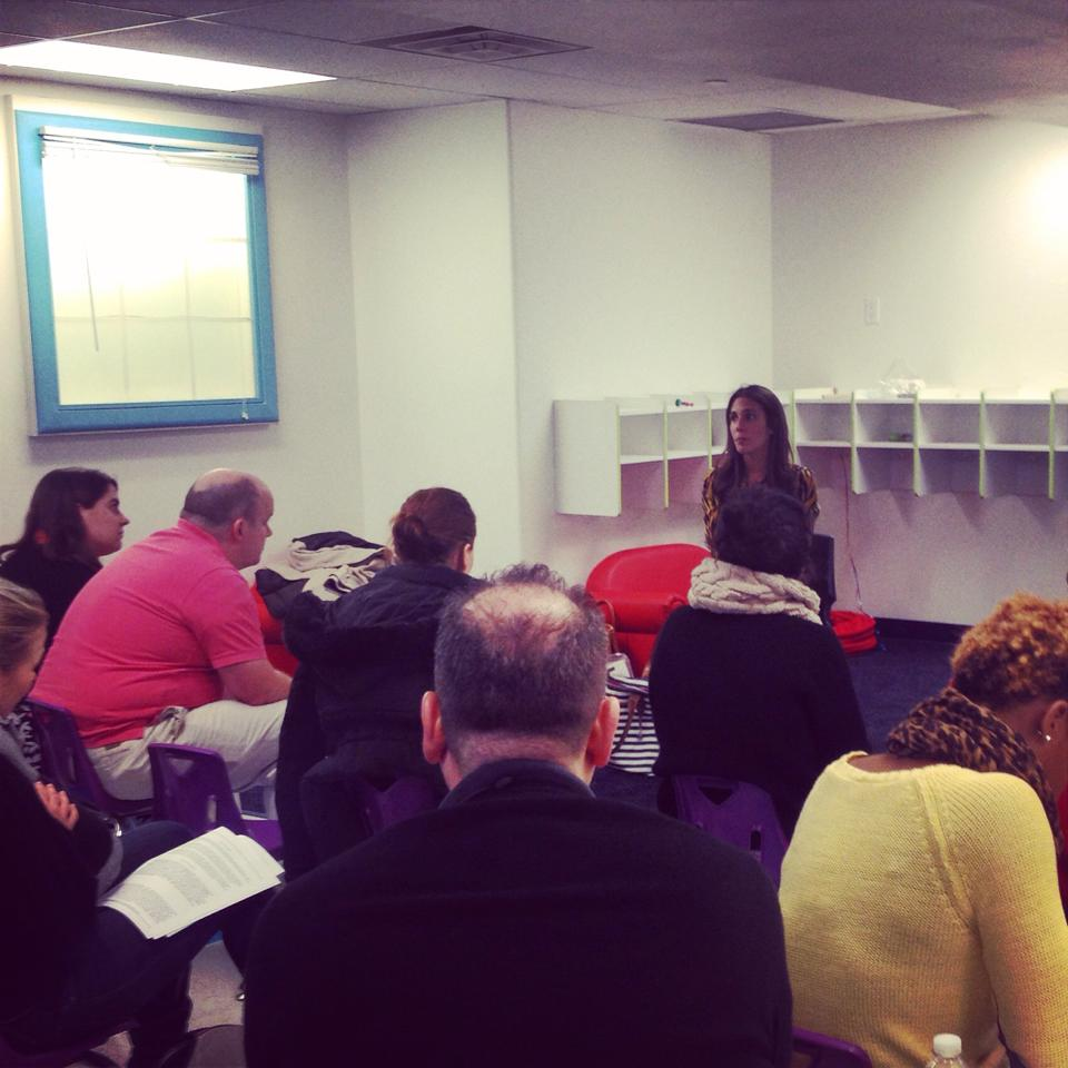 "Dr. Peri Vella presenting her ""Tackling Tantrums"" workshop to the parents of the Learning Experience in Tribeca in December 2014."