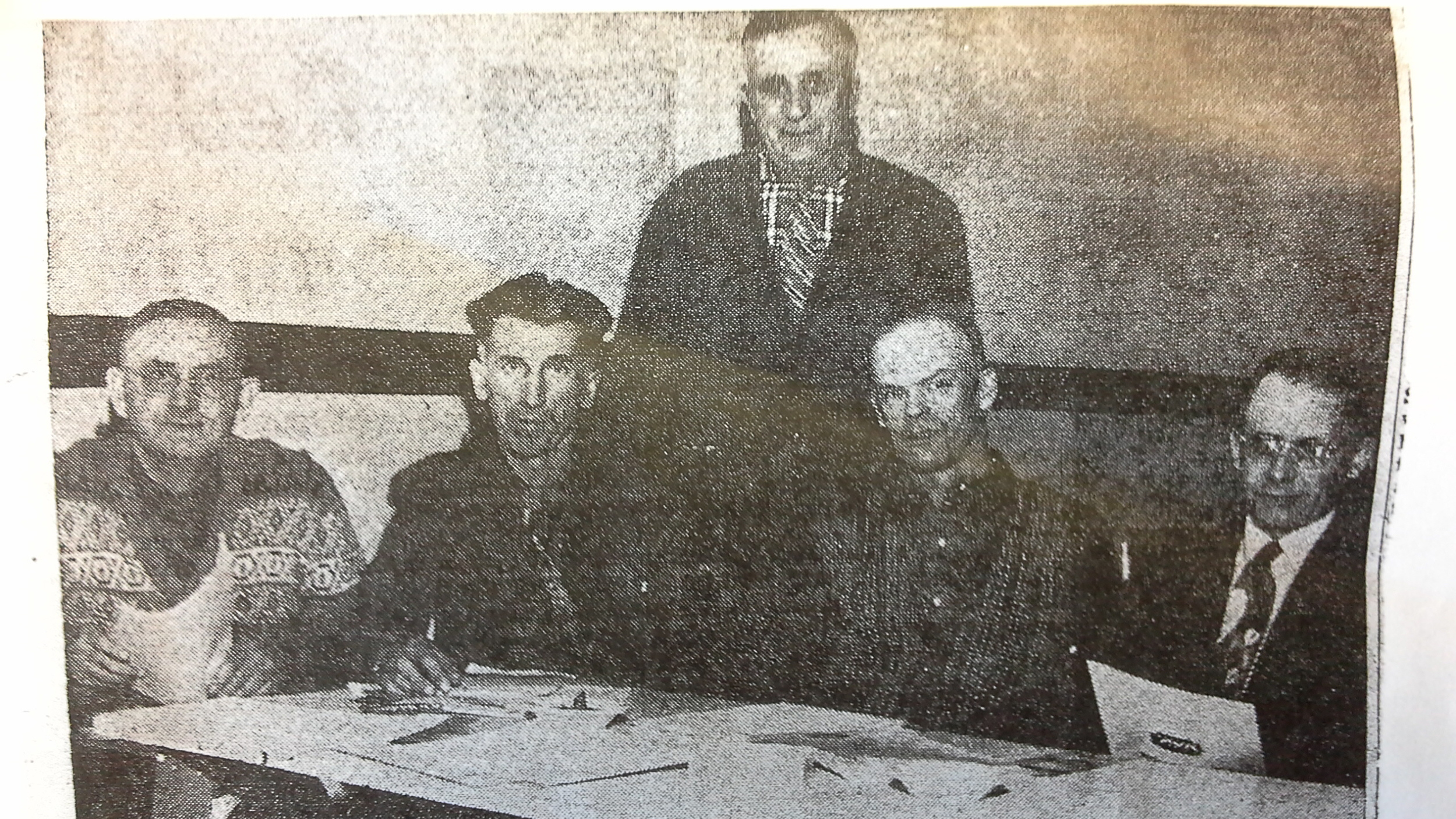 Weed inspectors who were hired to act in the ten new divisions that were formed in the war against weeds. The men are from left Malcom McDermit, Pierson; John Lowen, Mather; George Wintle, Deloraine; Claude Bomford, Crandall; Arthur Smith, Reston.