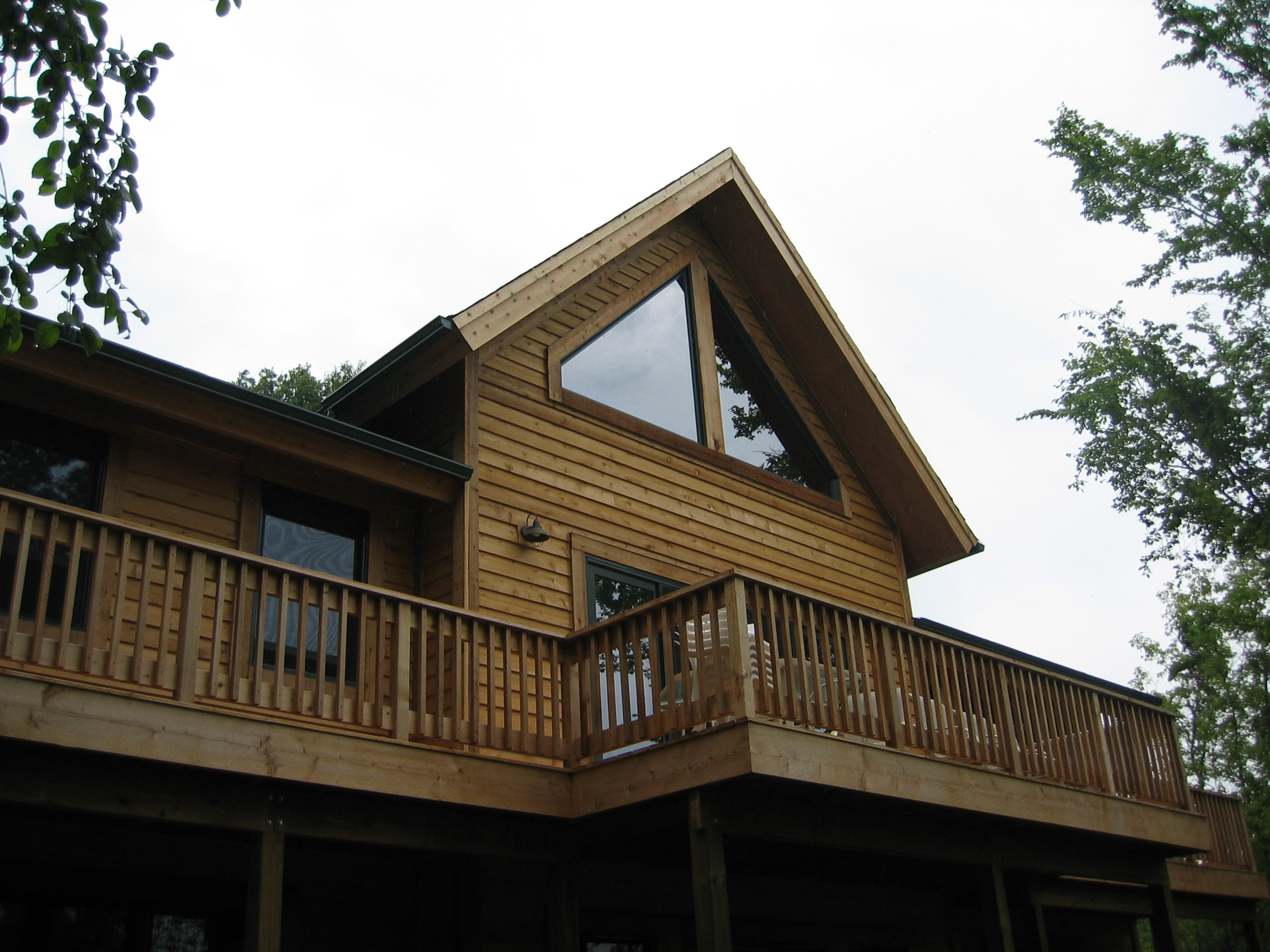 St. Joseph, WI Timber Frame: Back Exterior, With Deck
