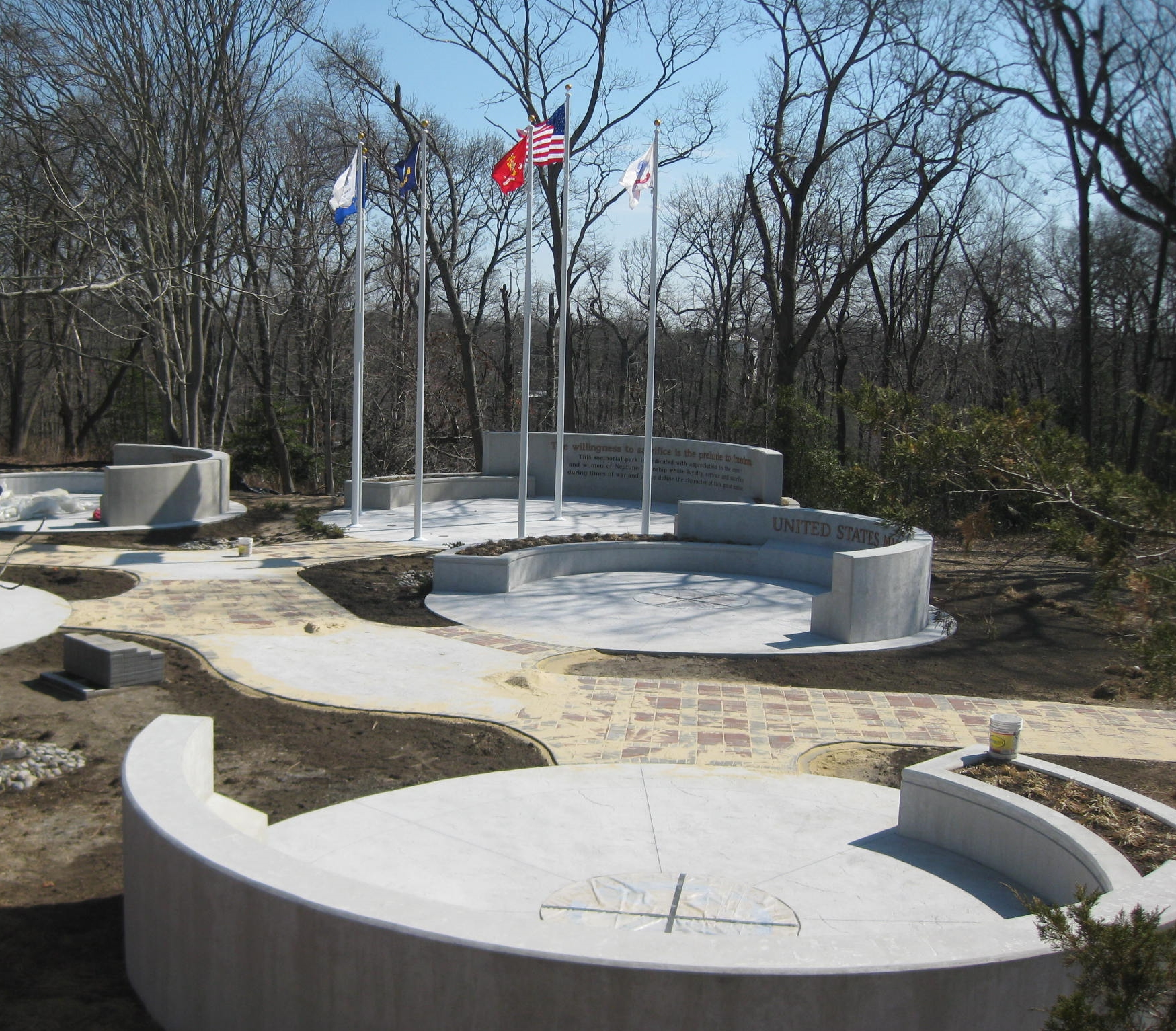 View of the curved walls and landscape underway at Veterans Memorial Park - Neptune, NJ