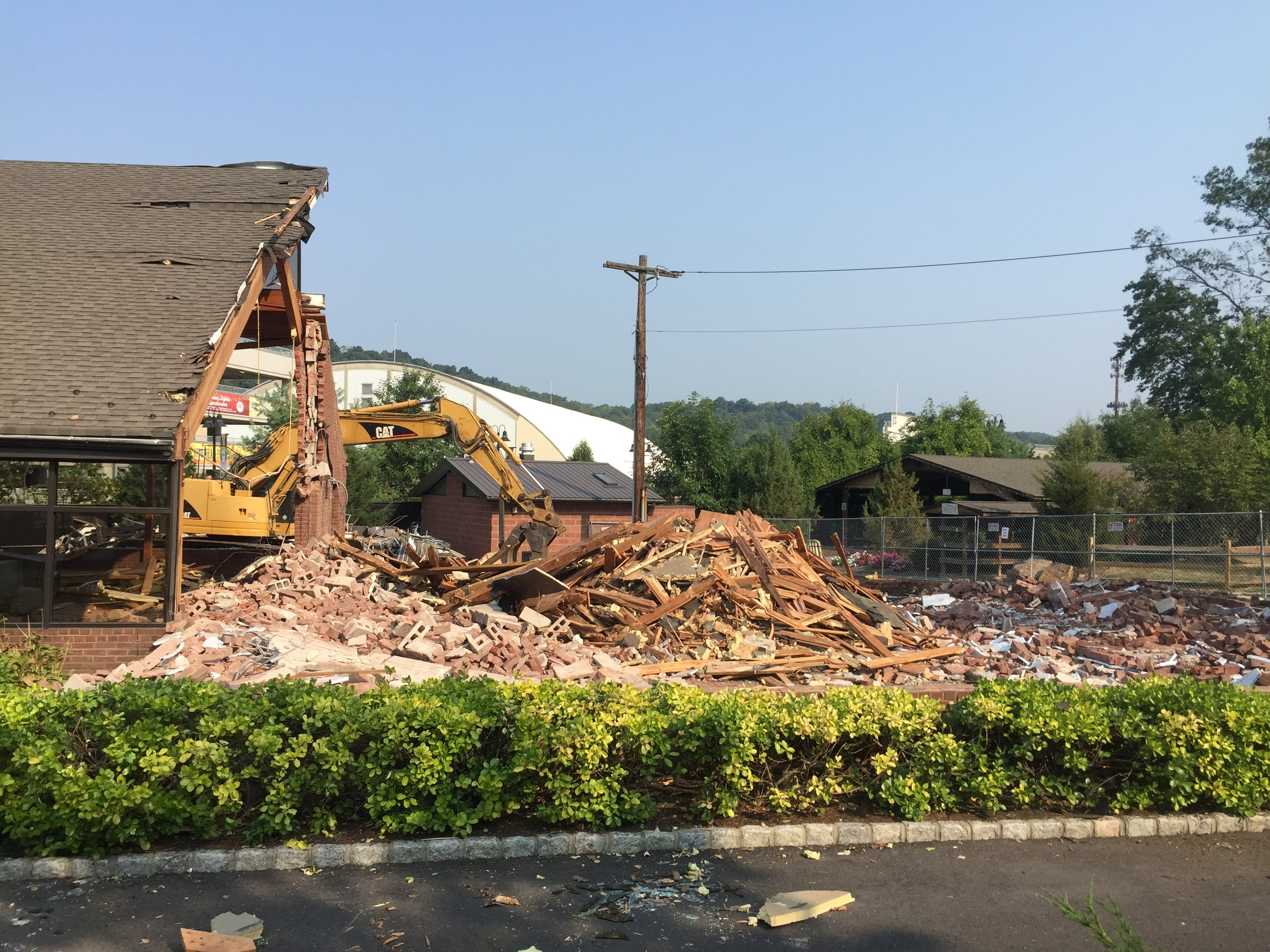 Existing building being taken down to make room for the new Cafe at Turtle Back Zoo - West Orange. NJ