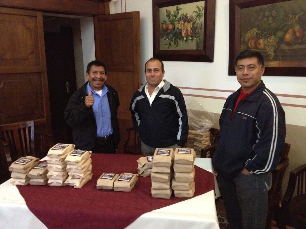 Filiberto, Froilan and Sylvestre, three of our coffee farmers, are ready to sell De la Gente coffee.