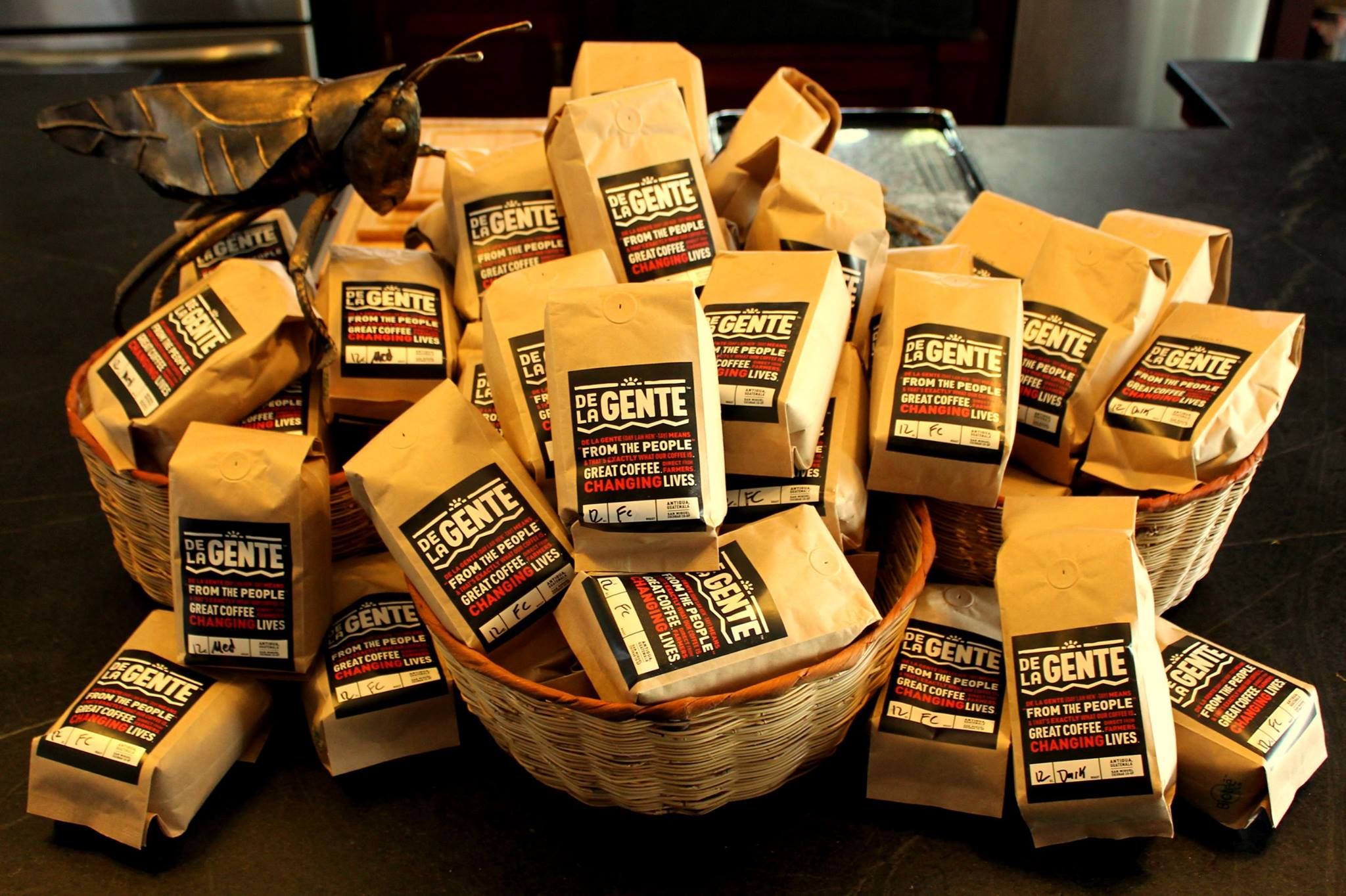 pile of DLG one pound coffee bags
