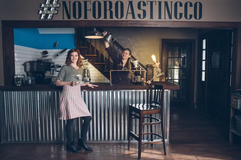 Jess & Jenni at their coffee bar in North Fork Roasting Co. when they first opened