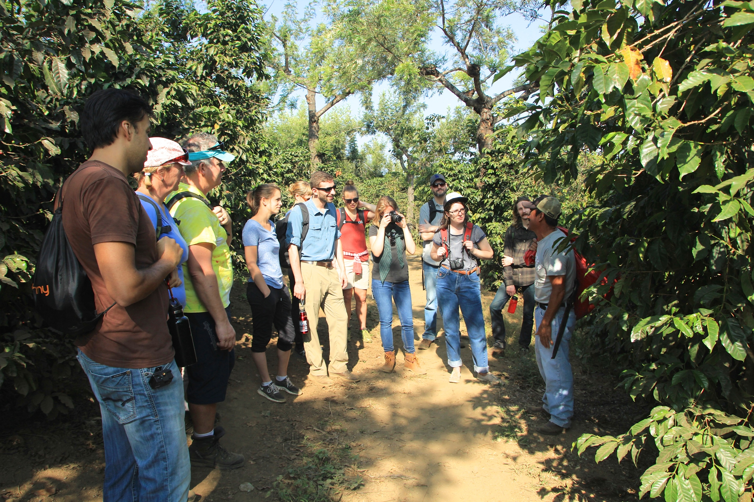 The Nossa team &friends getting to know the coffee fields with Timoteo Minas, president of the San Miguel Escobar cooperative and De la Gente's agricultural trainer
