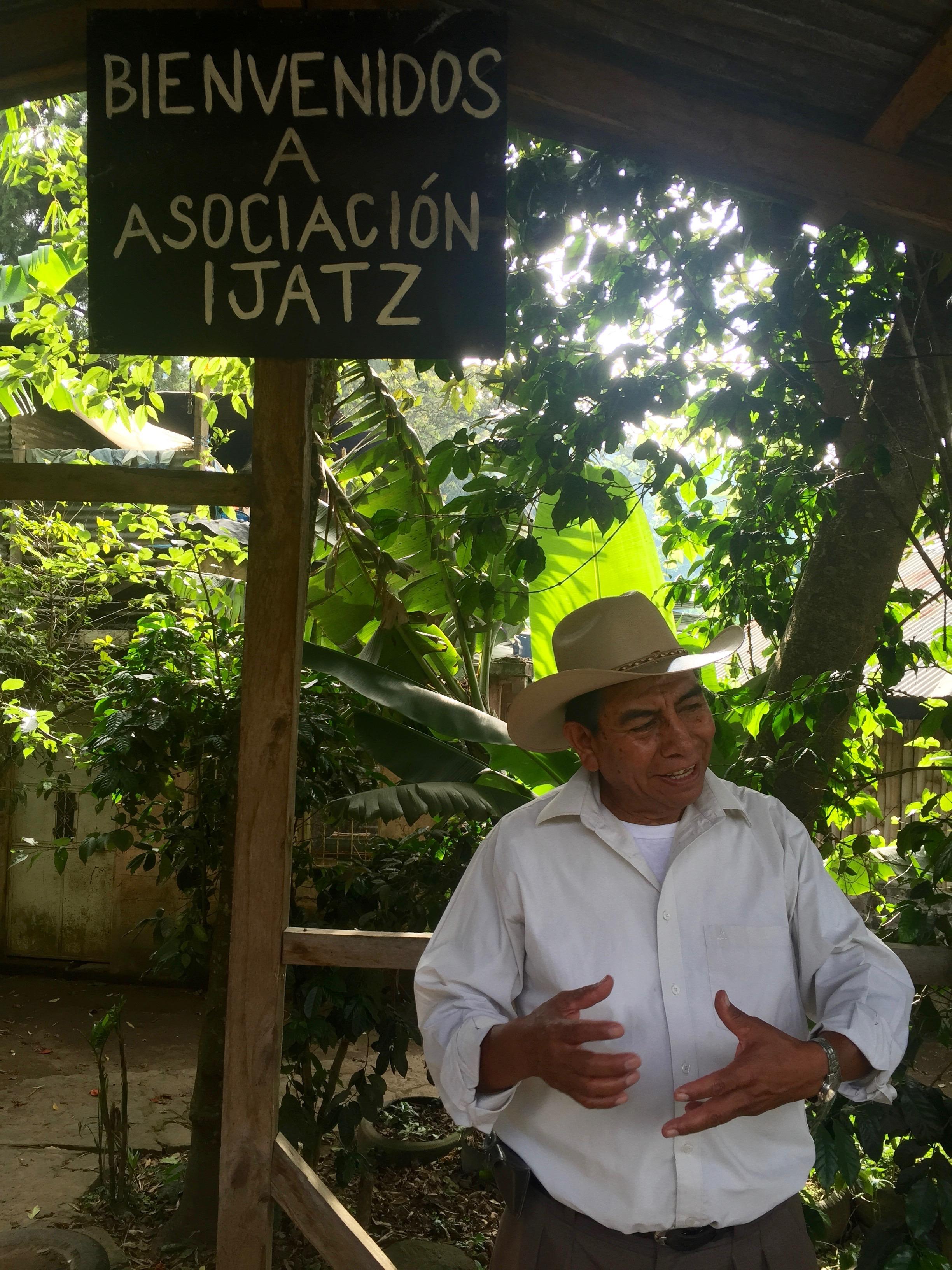 "Coopertive President Don Roberto Cojtín explaining the meaning of the name ""Ija'tz."""