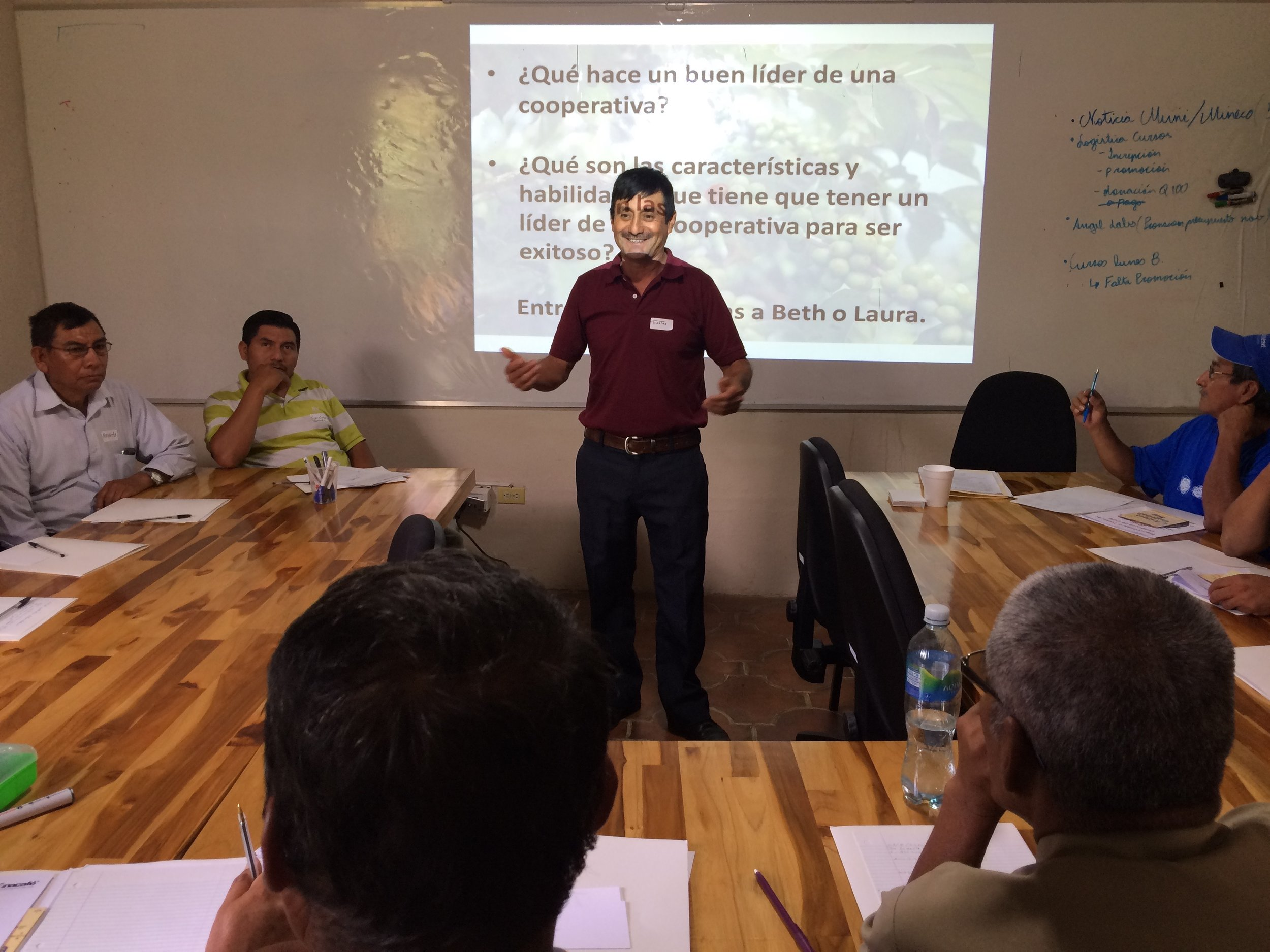 Timoteo, President of San Miguel Escobar Cooperative leading the discussion on Leadership