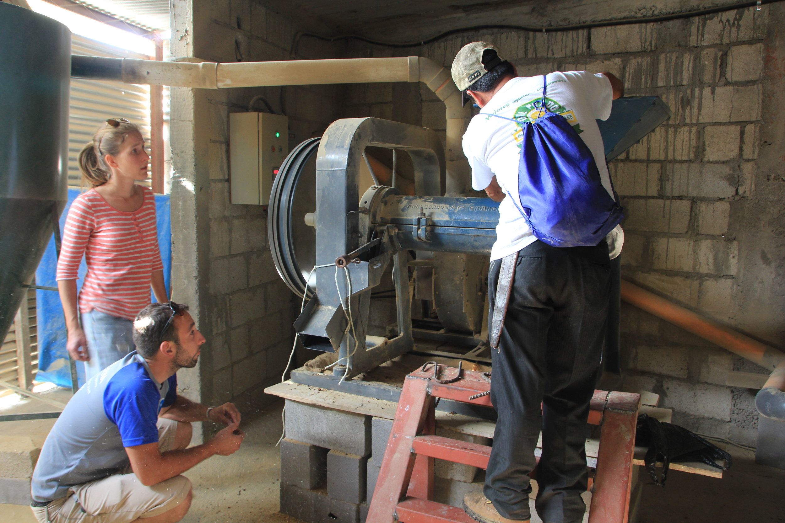 Linda & Kyle Checking out San Miguel Escobar's dry mill set up and energy needs.