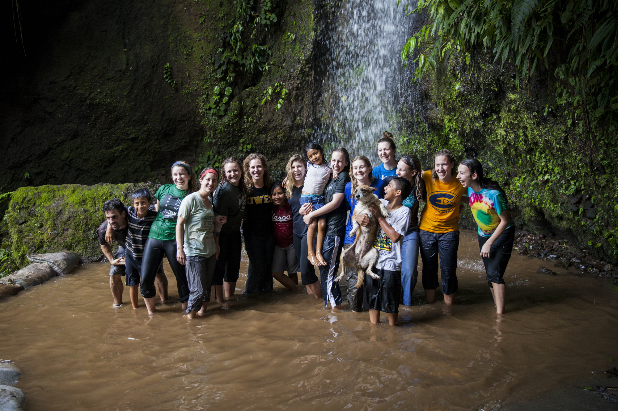 Student's and community members enjoying an afternoon at the local waterfall in the Santa Anita Commuity.