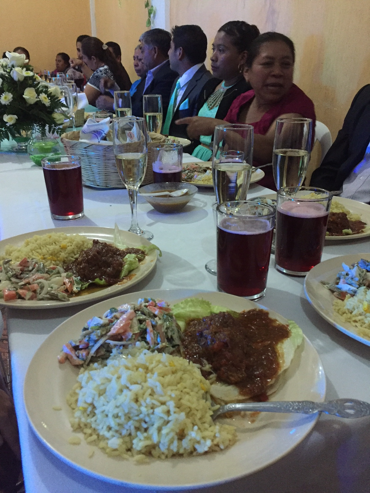 The traditional wedding meal. Estofado (beef stew) with rice, vegetable salad, and tortillas.