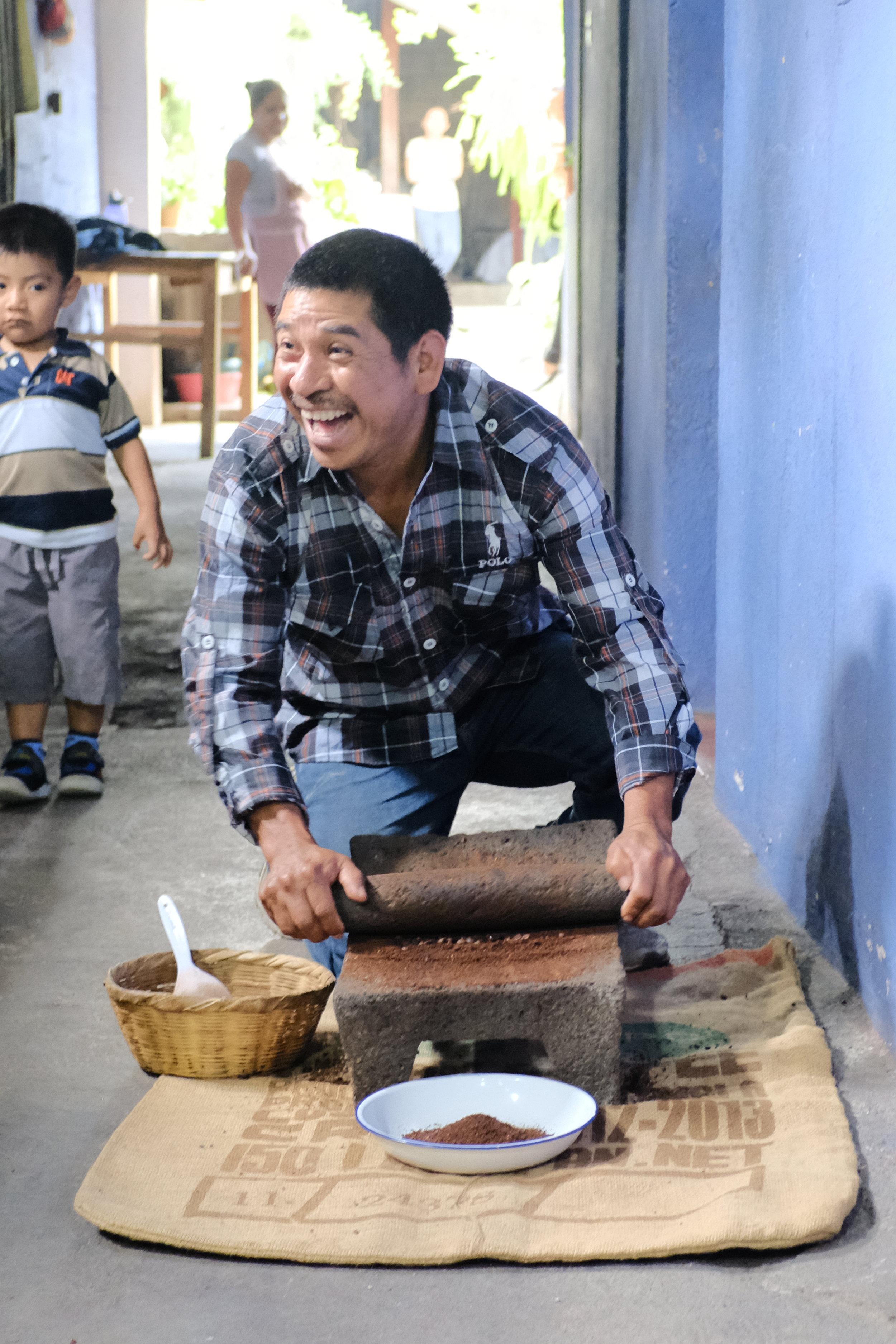 Eugenio definitely enjoyed grinding coffee on a stone!