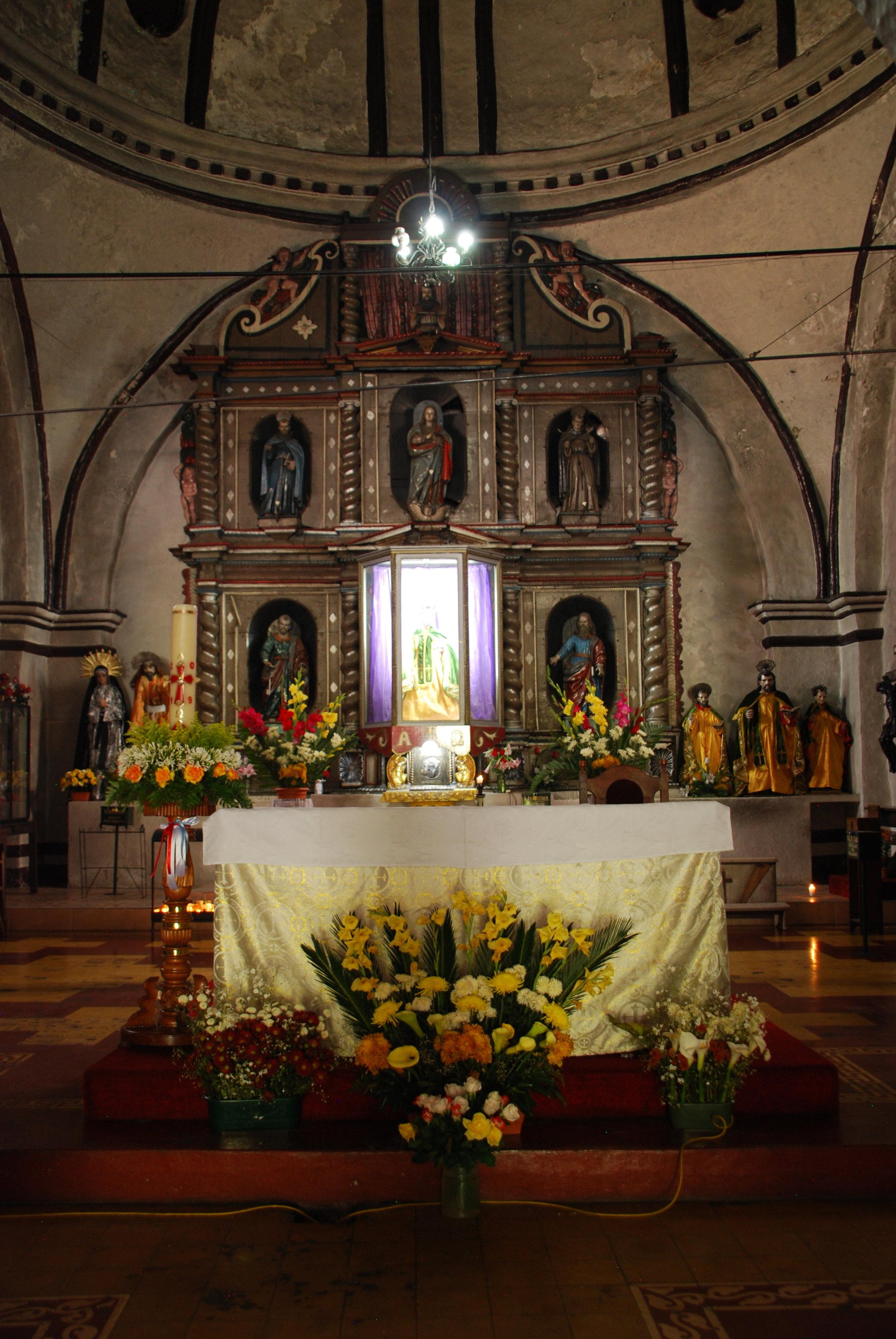 The main altar inside the church of San Lucas Toliman