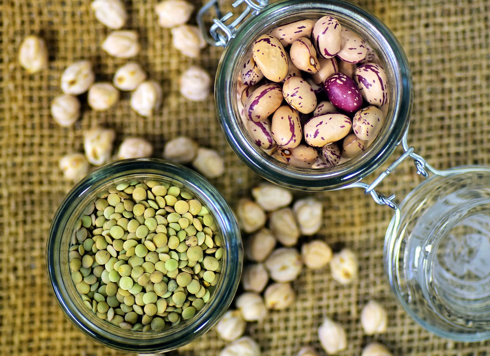 Beans, lentils and chickpeas.