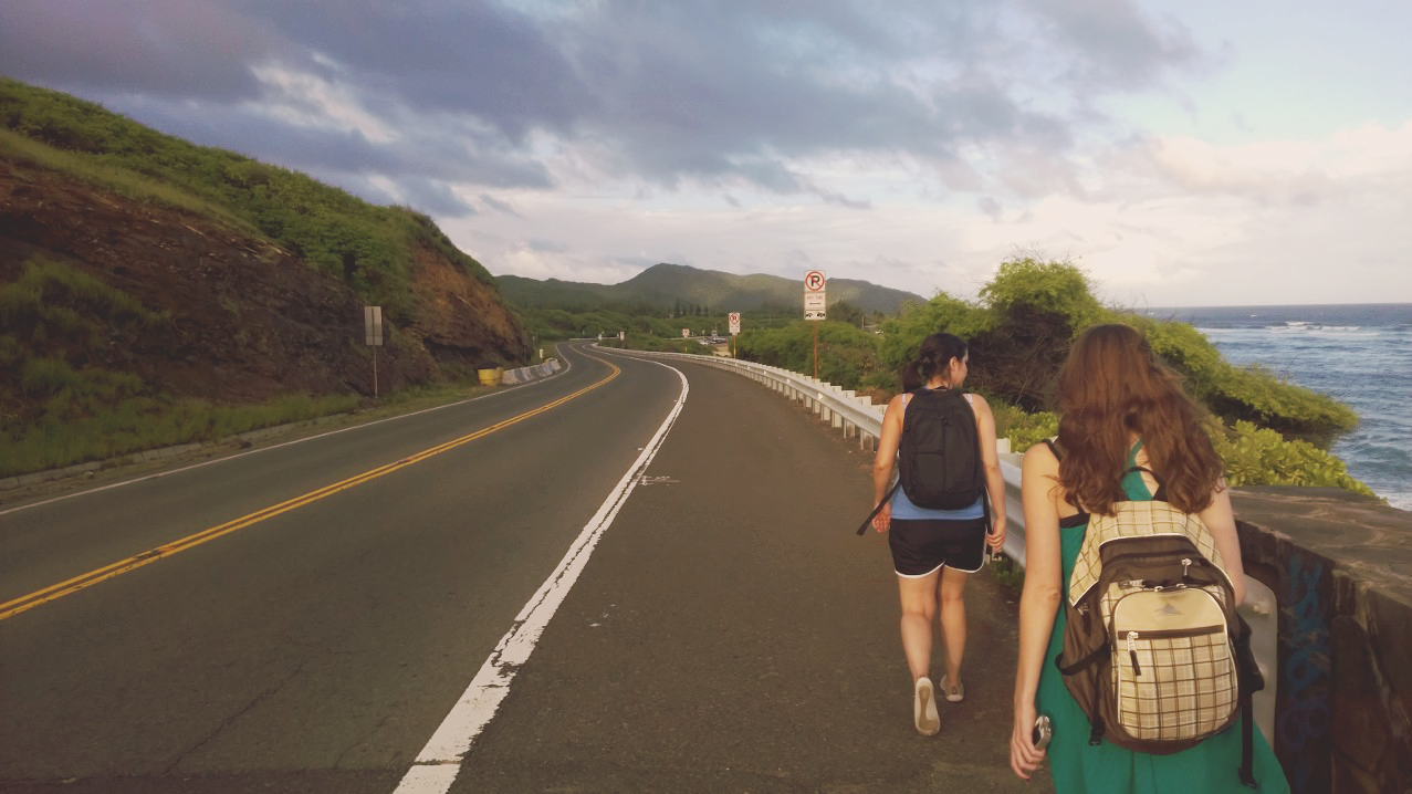 My BFF Becca and I walking down the highway from Halona Blowhole. Photo by Armaine Cubos.