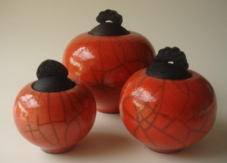 Red raku vessels - winners of the Perth Studio Potters selective 2013.