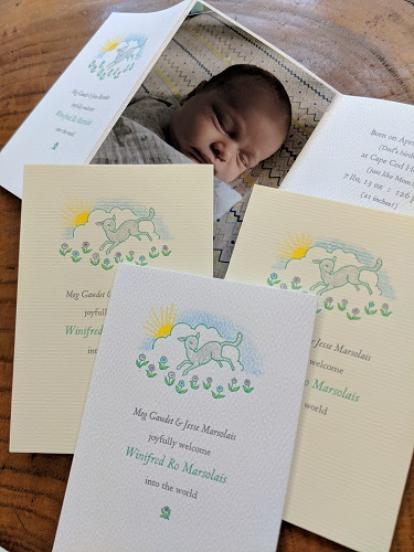 Birth Announcement - A shoemaker's children may go barefoot, but a printer's daughter shall not go without letterpress printed birth announcements. This design arrived before she did, having purchased the lamb photoengraving with an eye toward this very purpose. I took the liberty of hand coloring the lamb and flowers because first-time fatherhood is no time for restraint. Letterpress printed in Centaur and Arrighi types.