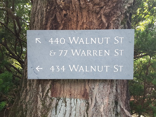 Address Sign - The design challenge here was to arrange three addresses for two separate homes sharing a single driveway. Hand carved in Vermont green slate and finished with white oil-based sign painter's enamel.